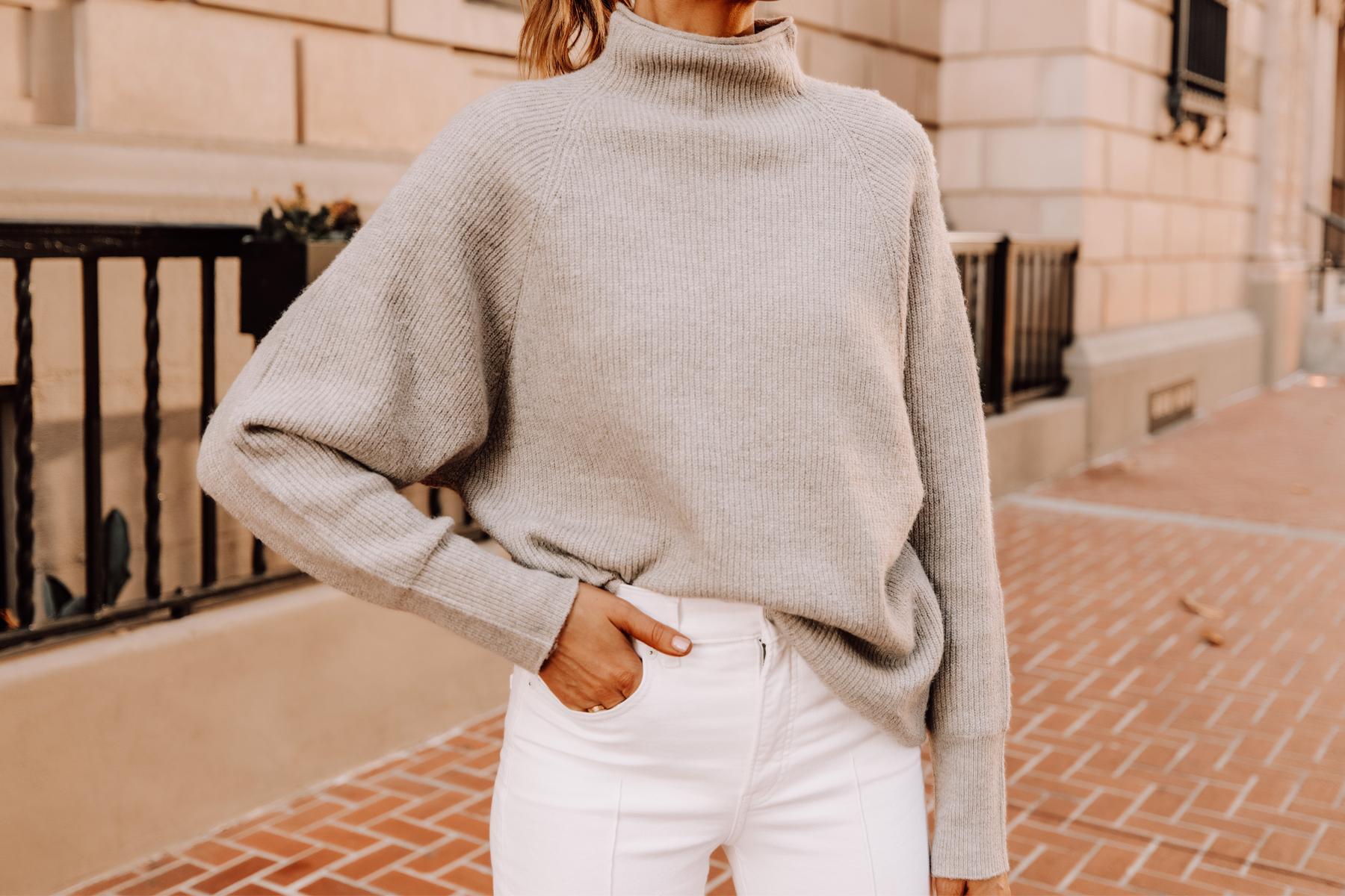 Fashion Jackson Wearing Express Beige Mockneck Sweater White Jeans