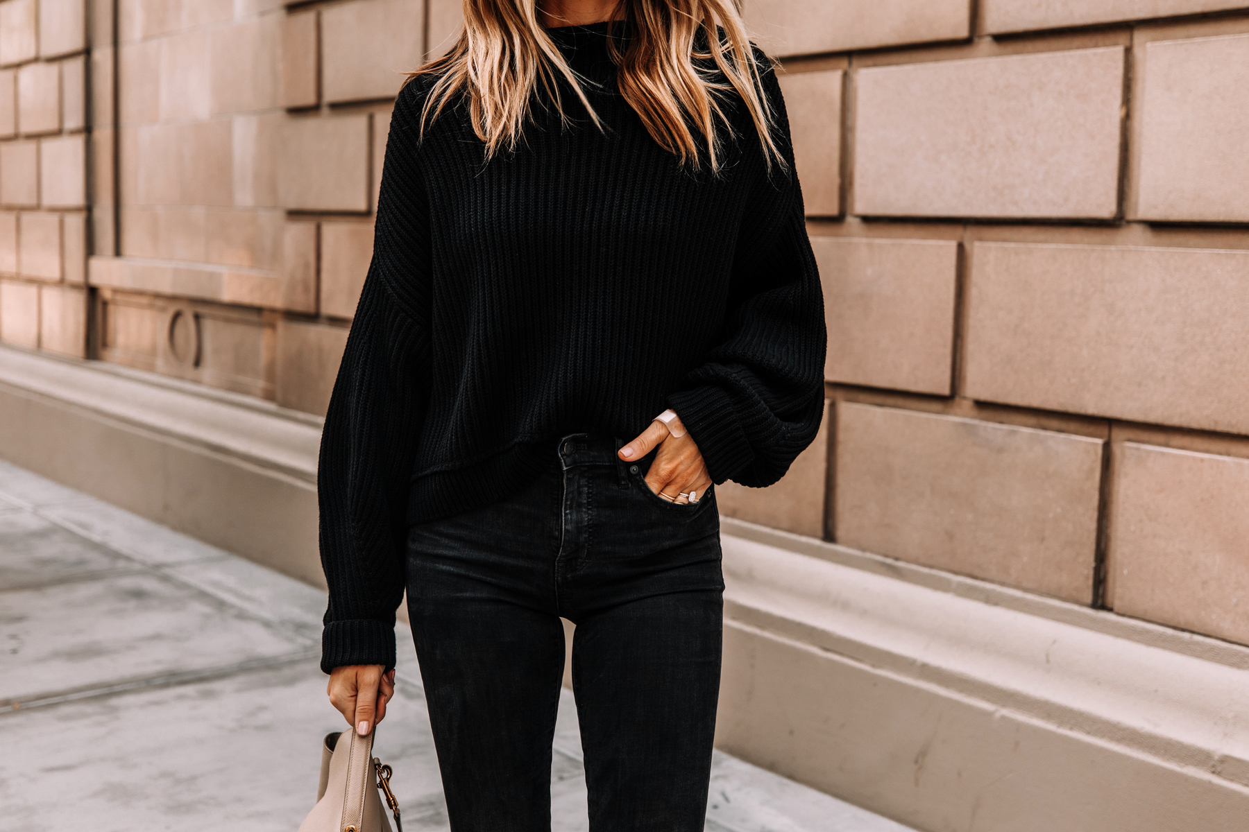 Fashion Jackson Wearing Free People Emmy Black Sweater Black Jeans