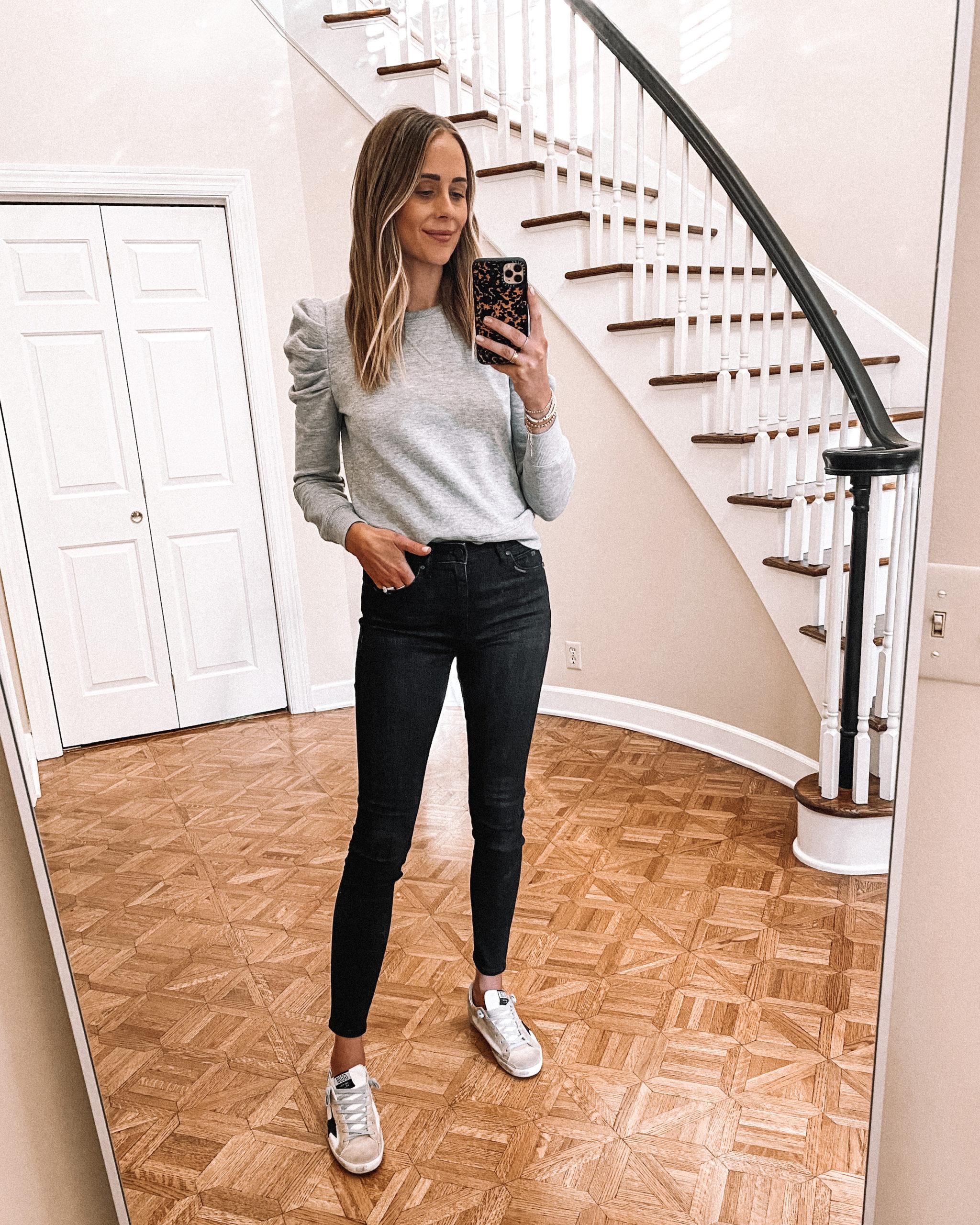 Fashion Jackson Wearing Grey Puff Sleeve Sweatshirt Black Skinny Jeans Golden Goose Sneakers