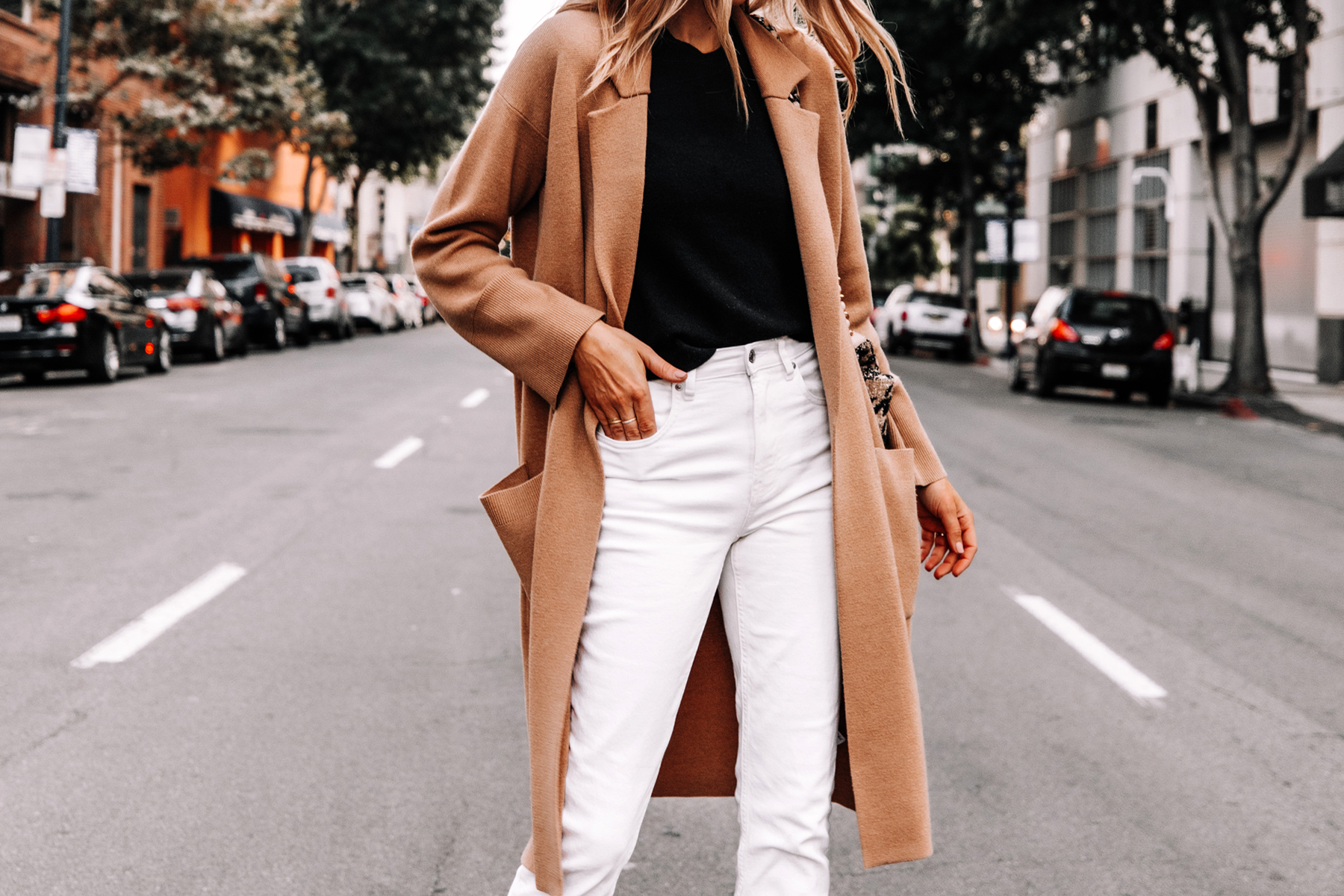 Fashion Jackson Wearing Jcrew Camel Coatigan Black Sweater Everlane White Jeans 2