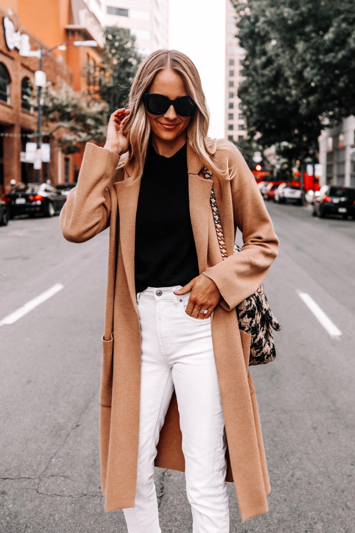 Fashion Jackson Wearing Jcrew Camel Coatigan Black Sweater Everlane White Jeans 3