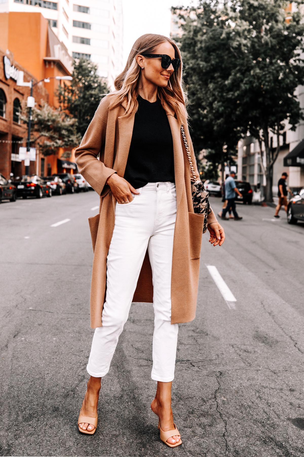 Fashion Jackson Wearing Jcrew Camel Coatigan Black Sweater Everlane White Jeans 4