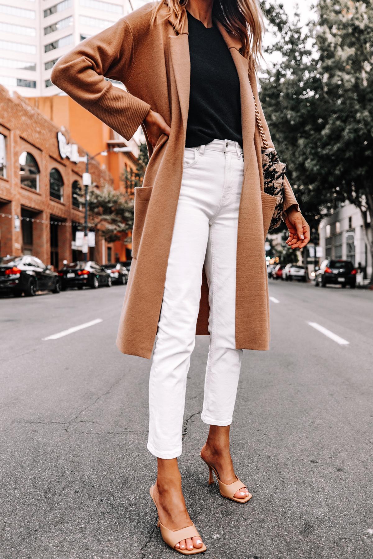 Fashion Jackson Wearing Jcrew Camel Coatigan Black Sweater Everlane White Jeans Tan Heeled Sandals 1