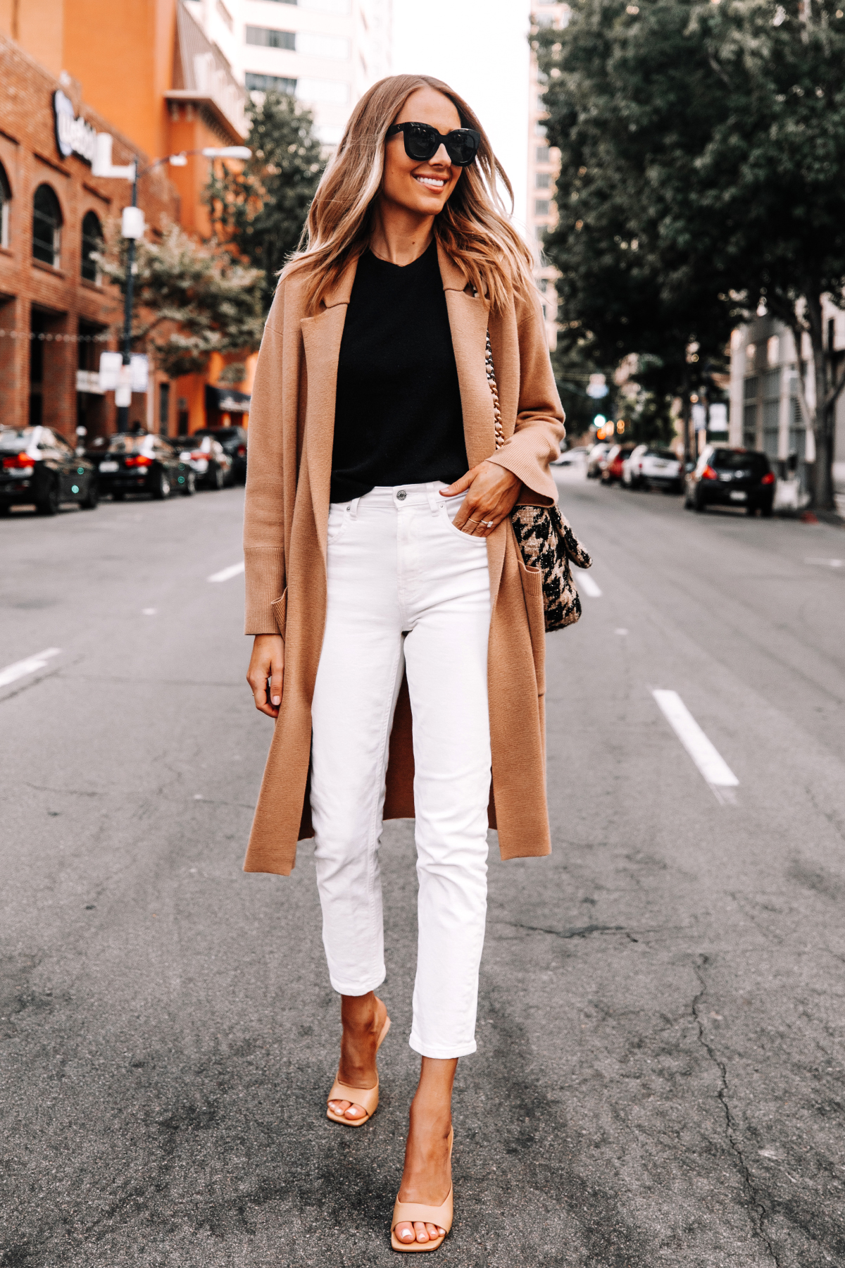 Fashion Jackson Wearing Jcrew Camel Coatigan Black Sweater Everlane White Jeans Tan Heeled Sandals