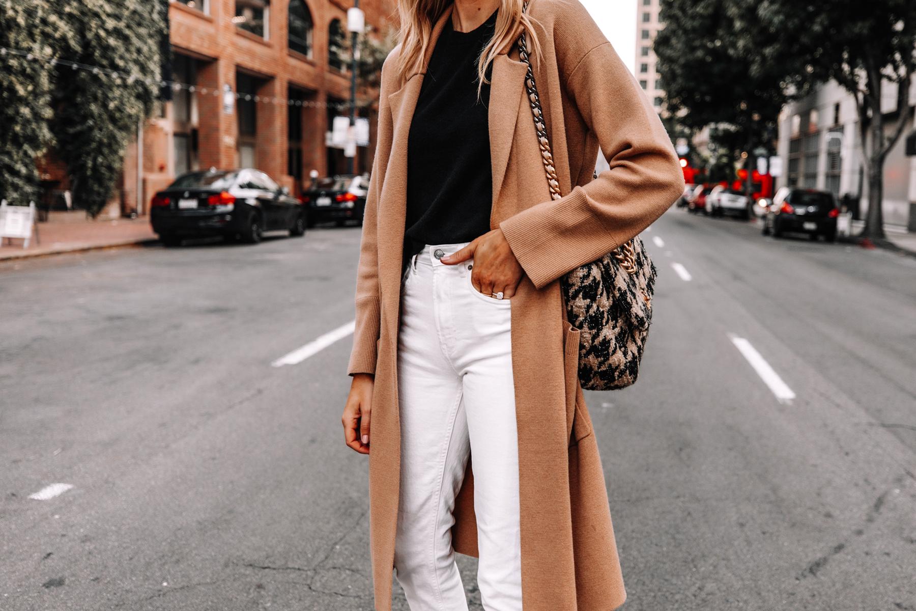 Fashion Jackson Wearing Jcrew Camel Coatigan Black Sweater Everlane White Jeans
