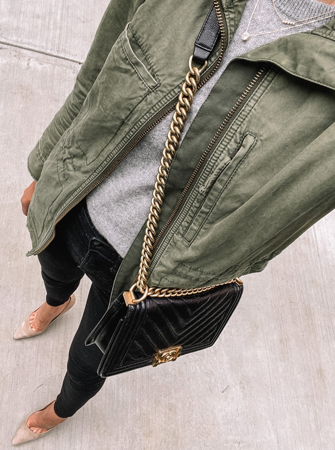 Fashion Jackson Wearing Madewell Green Utility Jacket Grey Sweater Black Skinny Jeans Nude Pumps