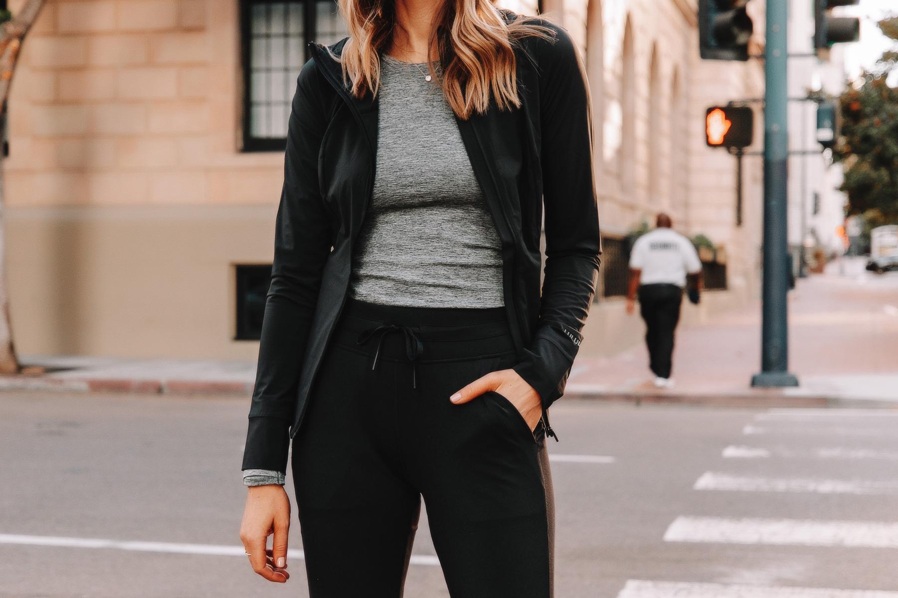 Fashion Jackson Wearing lululemon Black Jacket Grey Workout Top Black Joggers