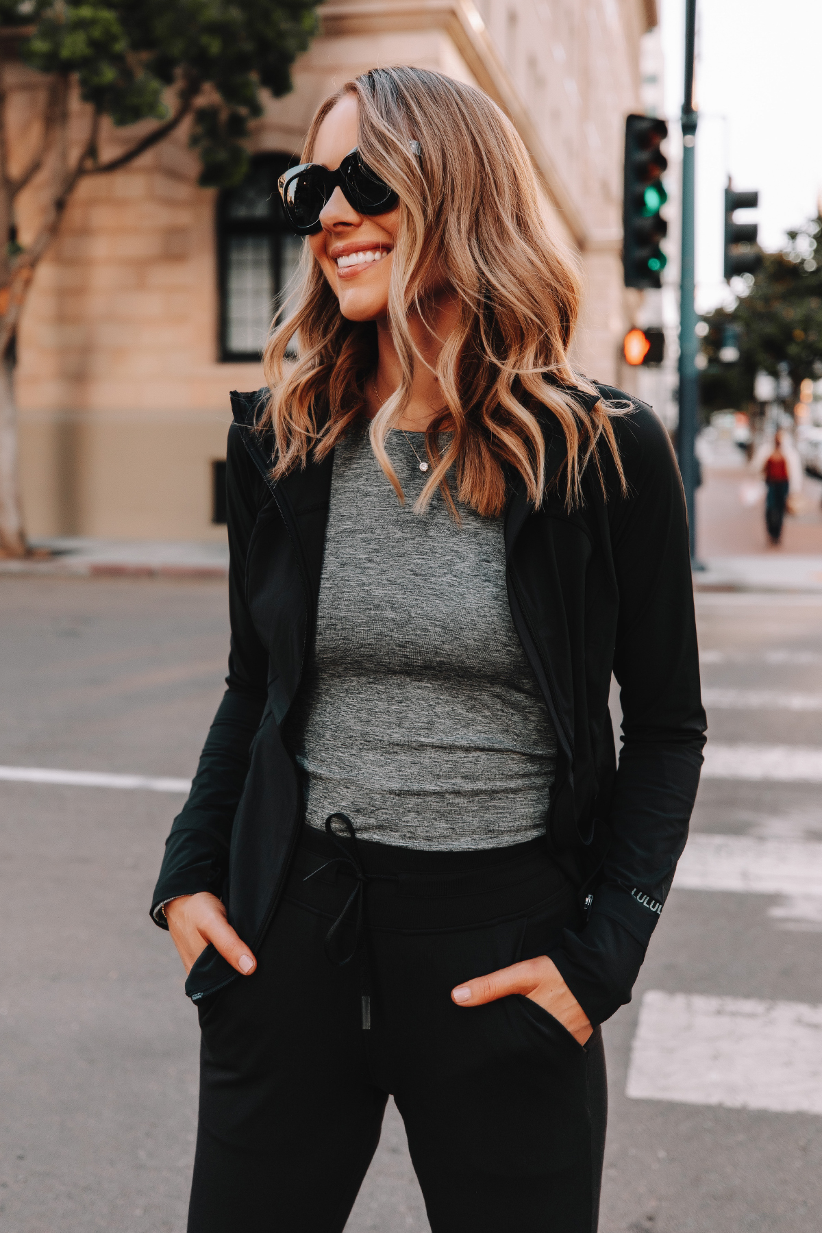 Fashion Jackson Wearing lululemon Black Jacket Grey Workout Top