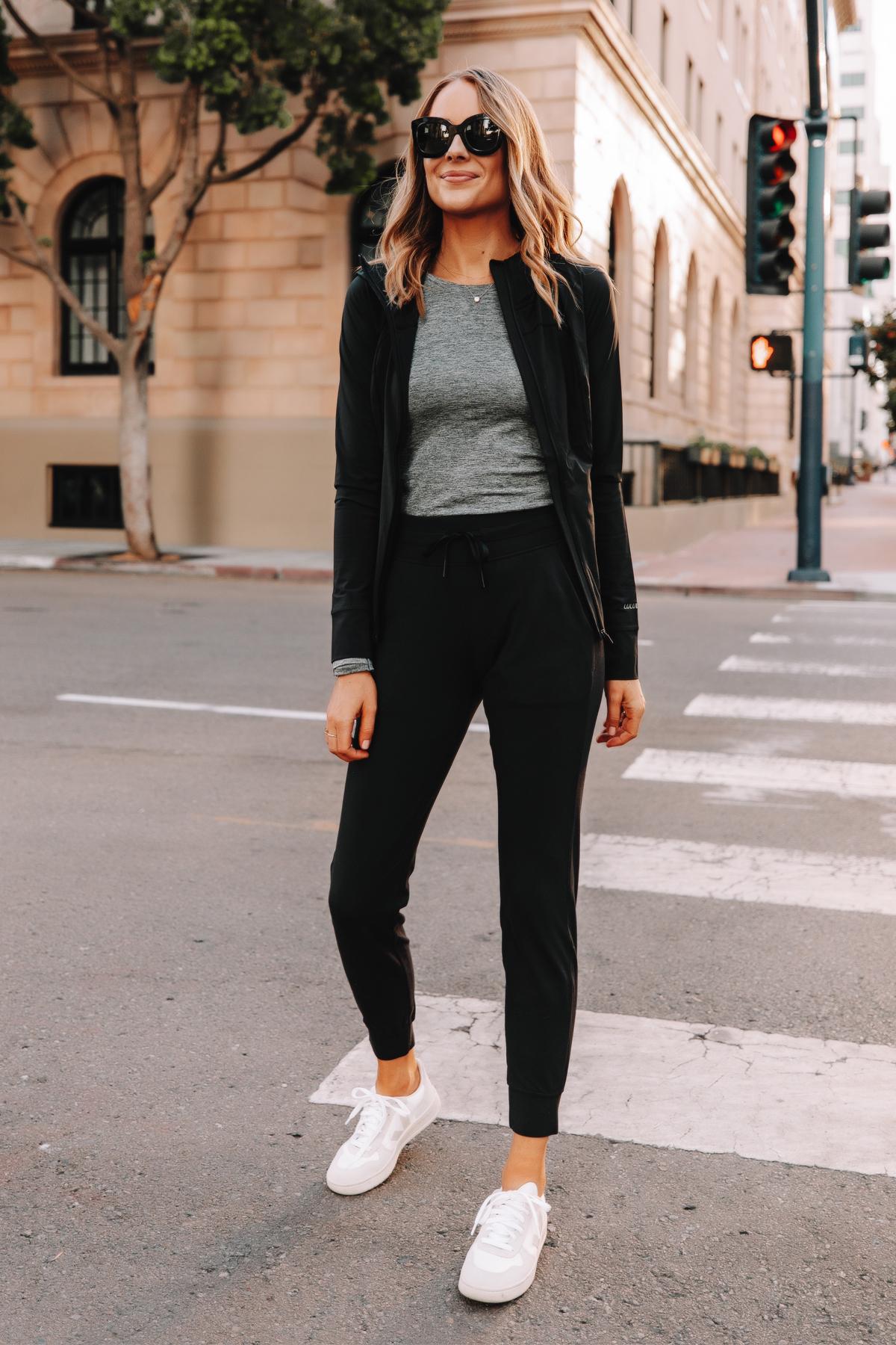 Fashion Jackson Wearing lululemon Ready to Rulu Black Joggers Veja Sneakers Black Jacket Grey Top 1