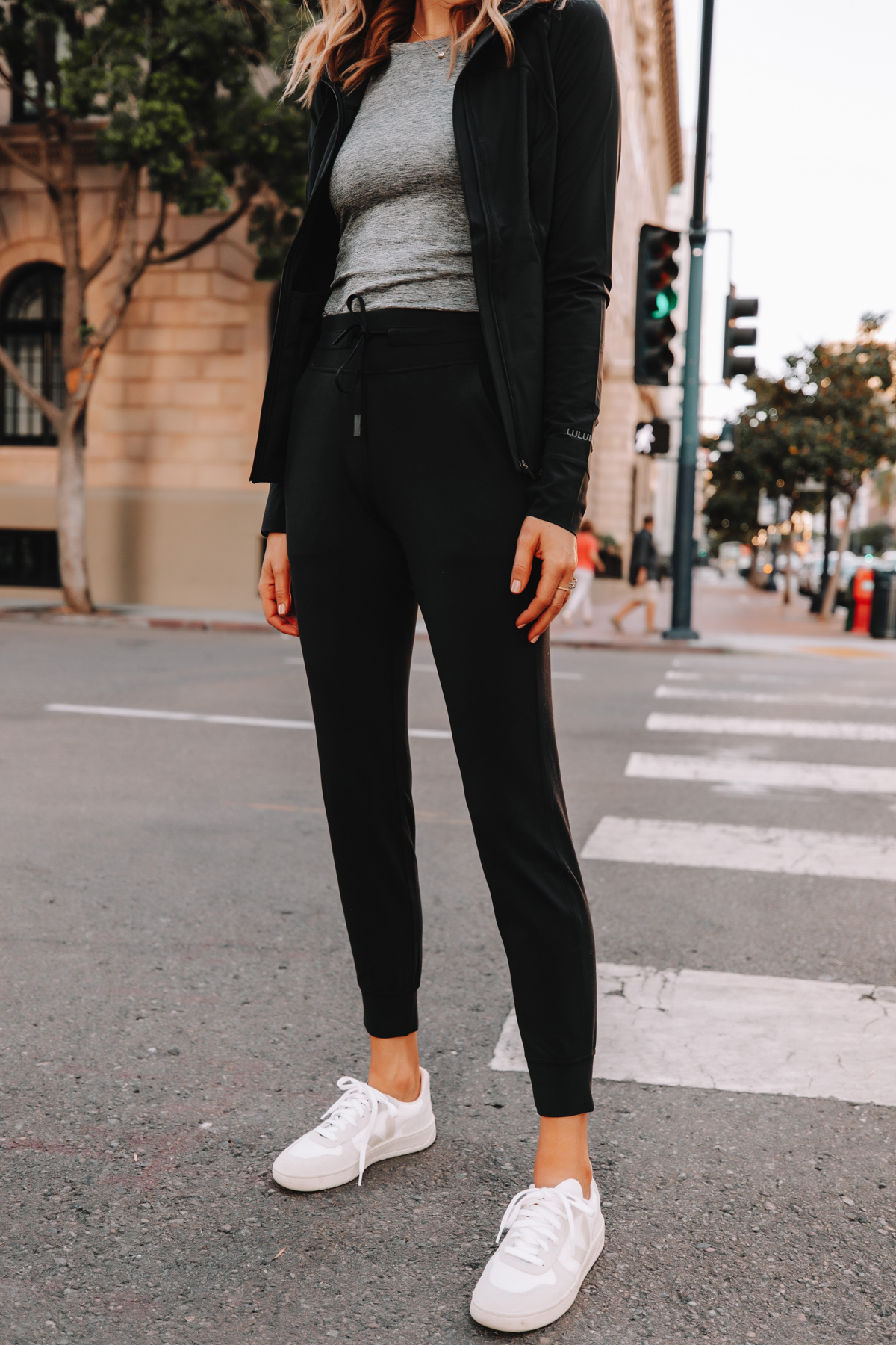 Fashion Jackson Wearing lululemon Ready to Rulu Black Joggers Veja Sneakers Black Jacket