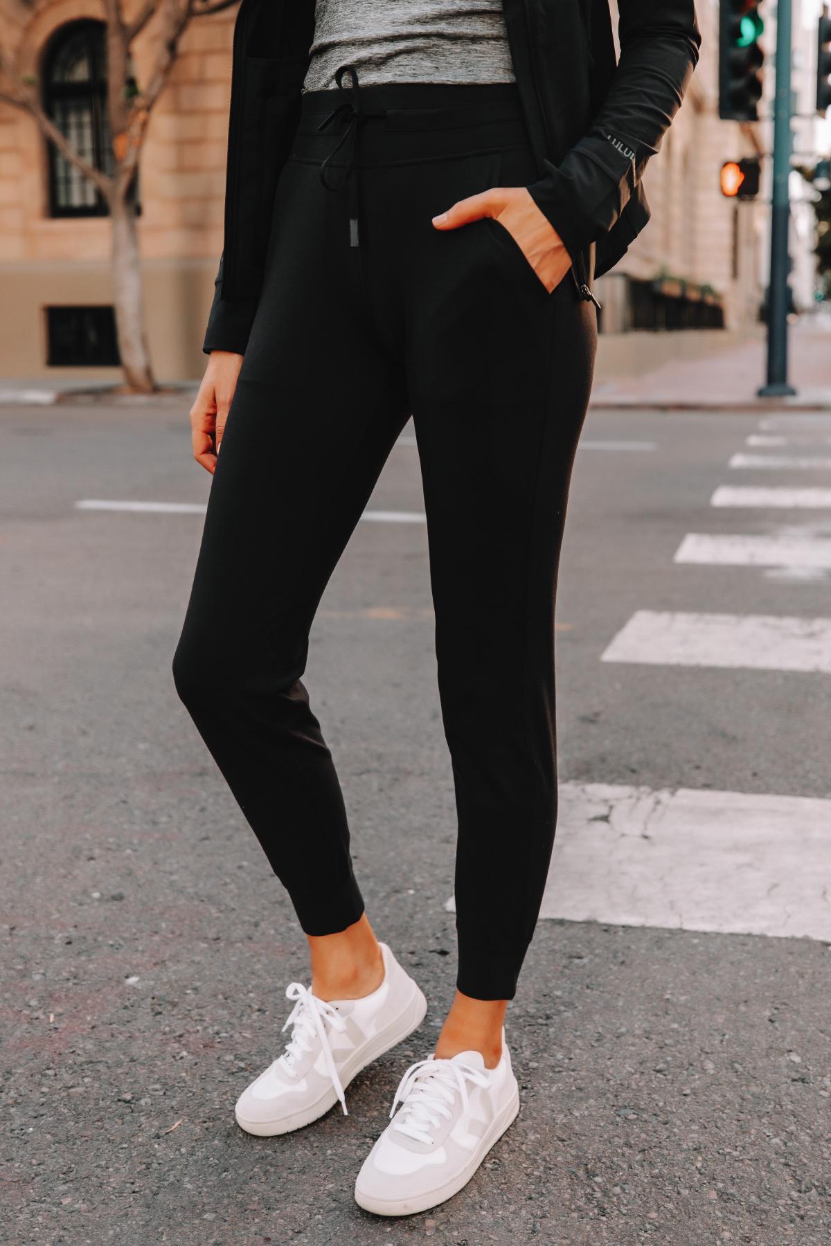 Fashion Jackson Wearing lululemon Ready to Rulu Black Joggers Veja Sneakers