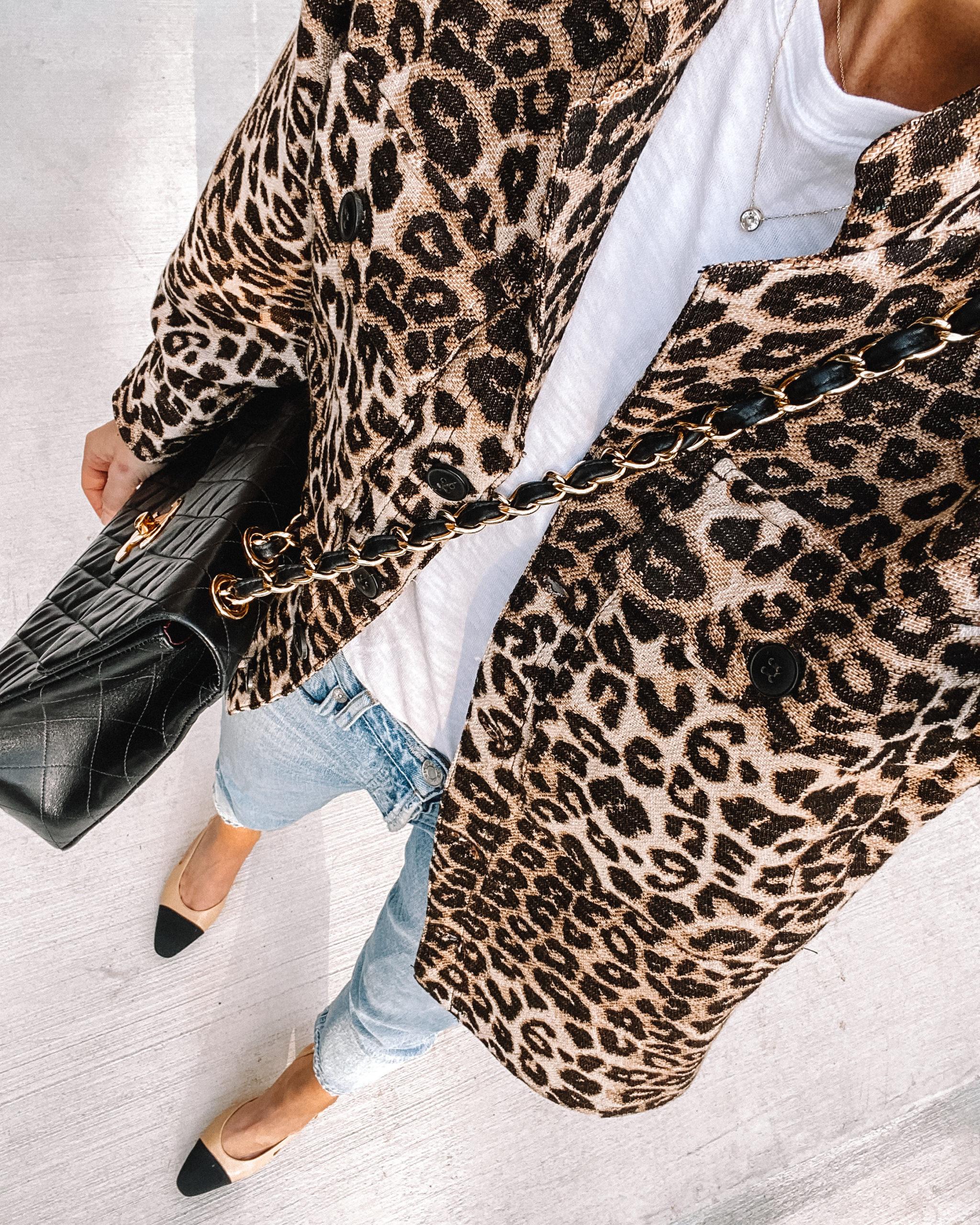 fashion jackson wearing anine bing leopard shacket