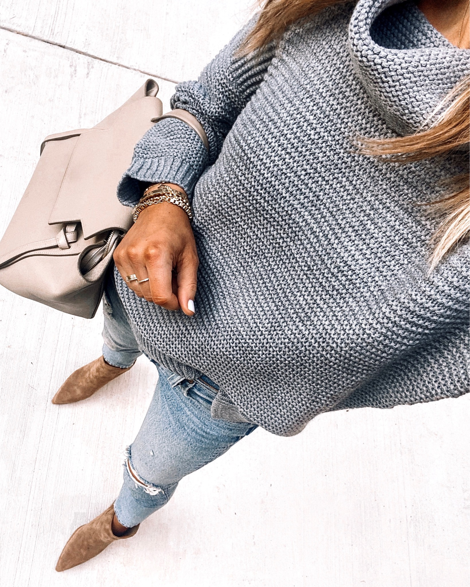 Fashion Jackson Amazon Fashion Grey Sweater Ripped Jeans Cognac Booties