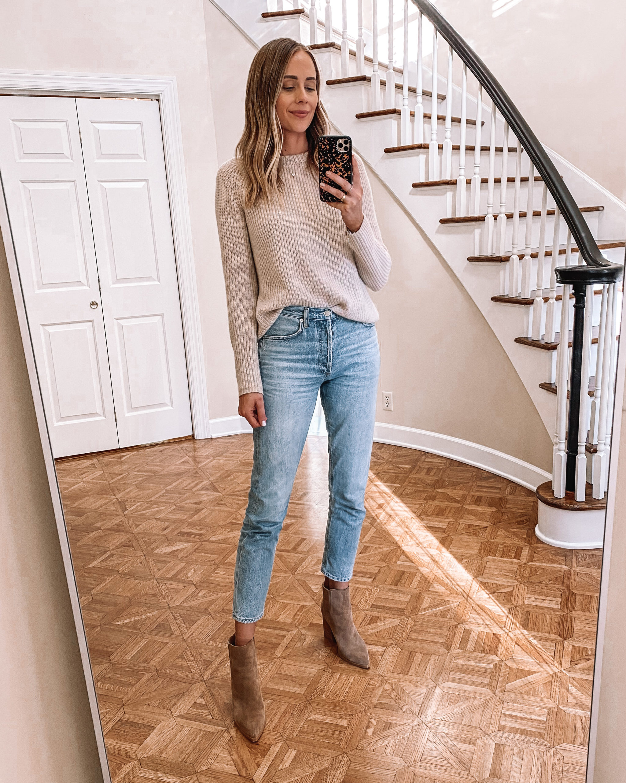 Fashion Jackson Wearing Jenni Kayne Cashmere Sweater Levis Jeans Tan Suede Booties