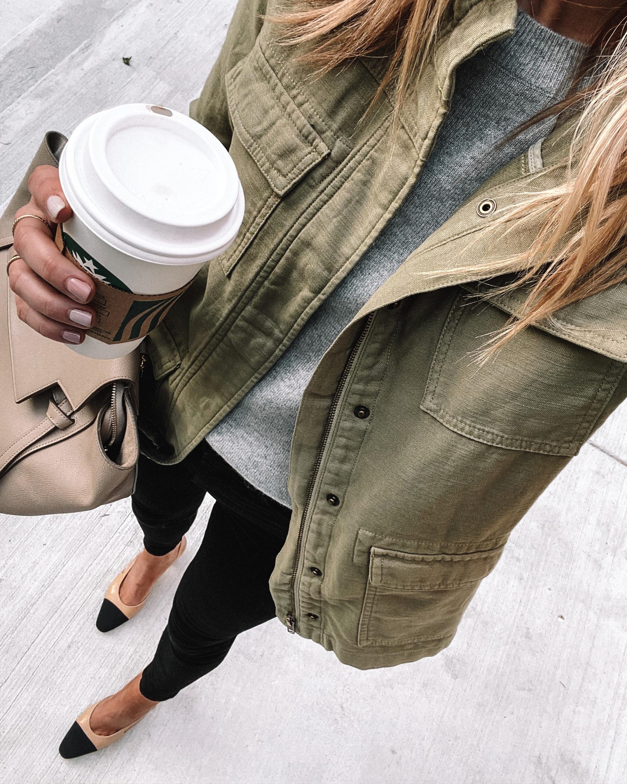 Fashion Jackson Green Utility Jacket Grey Sweater Black Skinny Jeans Chanel Slingbacks
