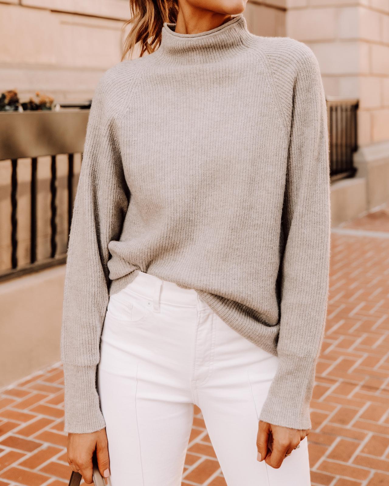 Fashion Jackson Wearing Express Beige Mock Neck Sweater