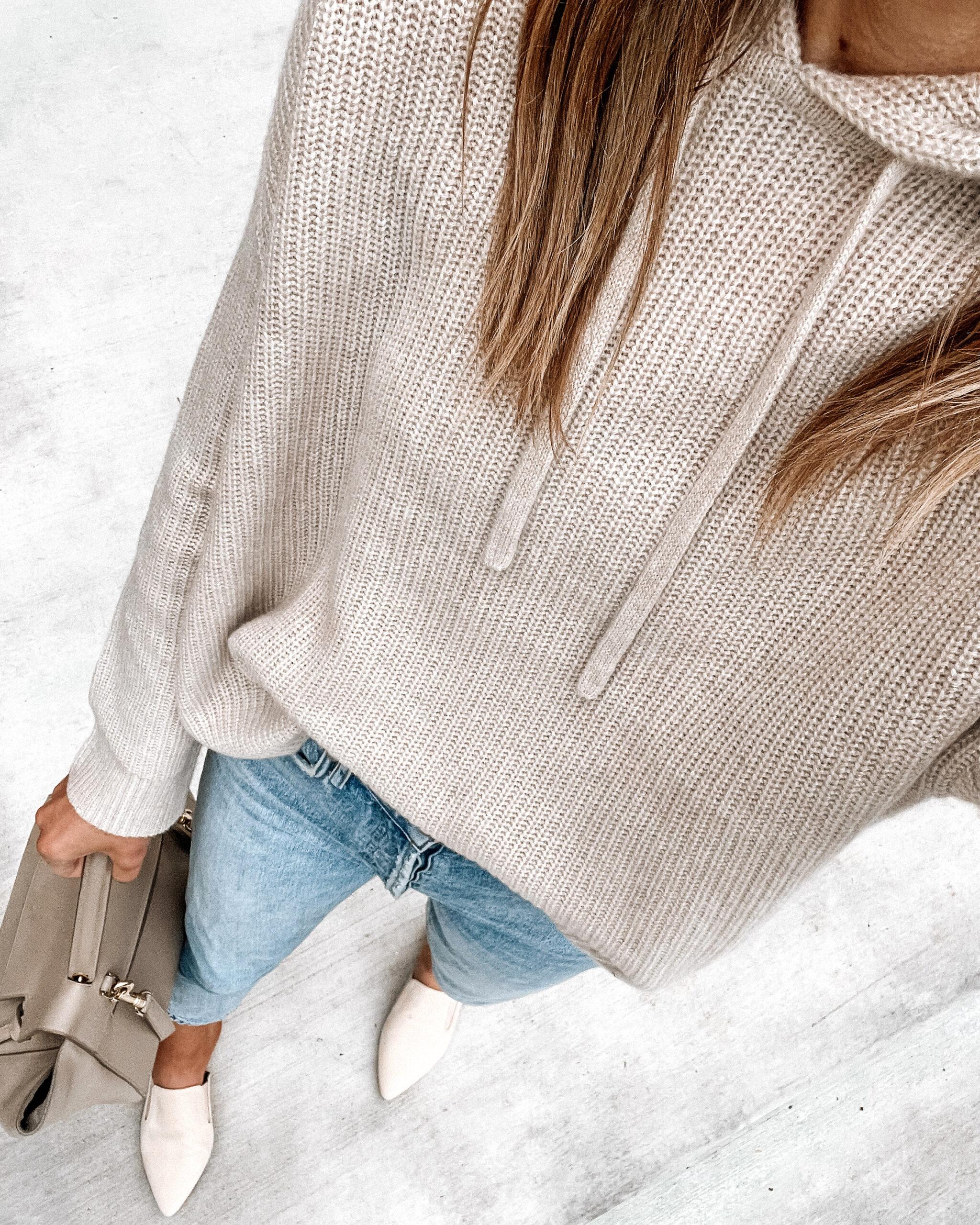 Fashion Jackson Wearing Jenni Kayne Oatmeal Fisherman Hoodie Cashmere Sweater Skinny Jeans