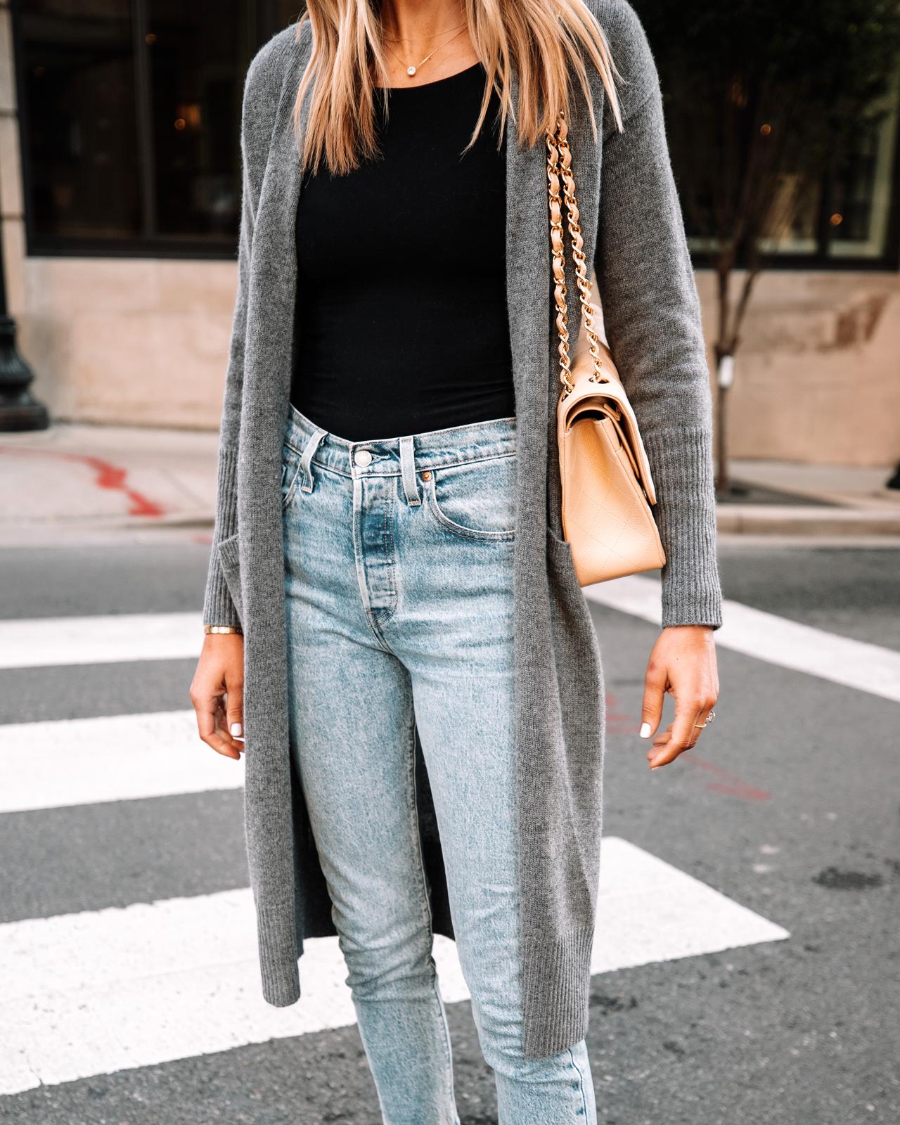 Fashion Jackson Wearing Grey Long Cardigan Black Bodysuit Levis 501 skinny jeans