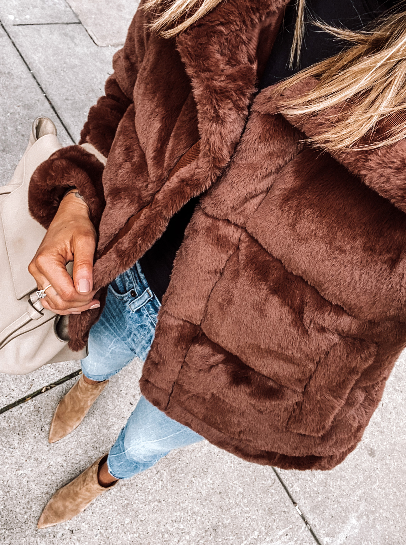 Fashion Jackson Wearing Abercrombie Faux Fur Puffer