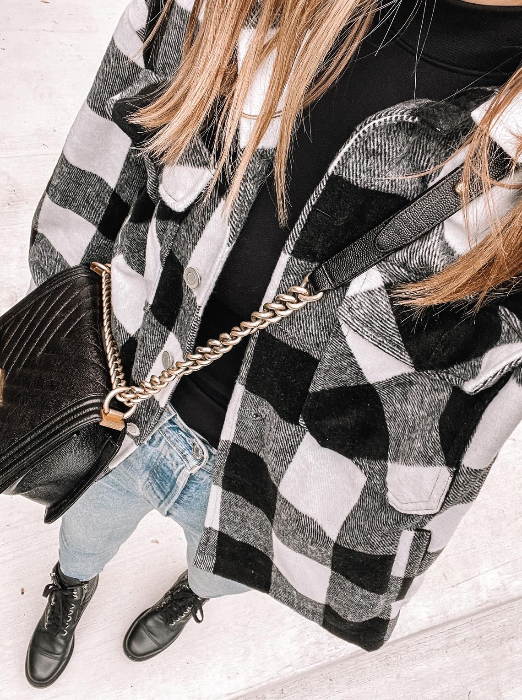 Fashion Jackson Wearing Amazon Black and White Shacket