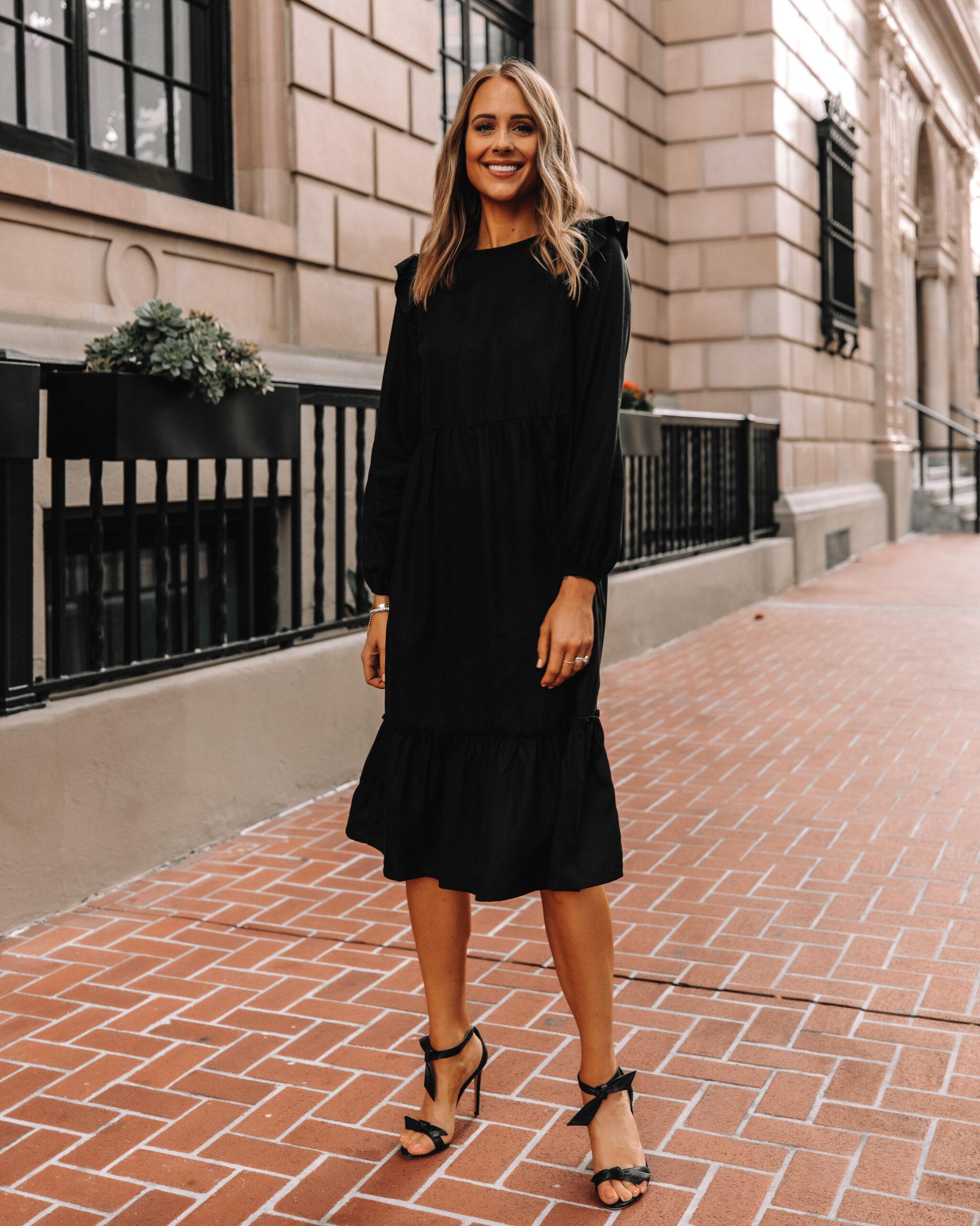 Fashion Jackson Wearing Amazon The Drop Black Midi Dress Black Heeled Sandals