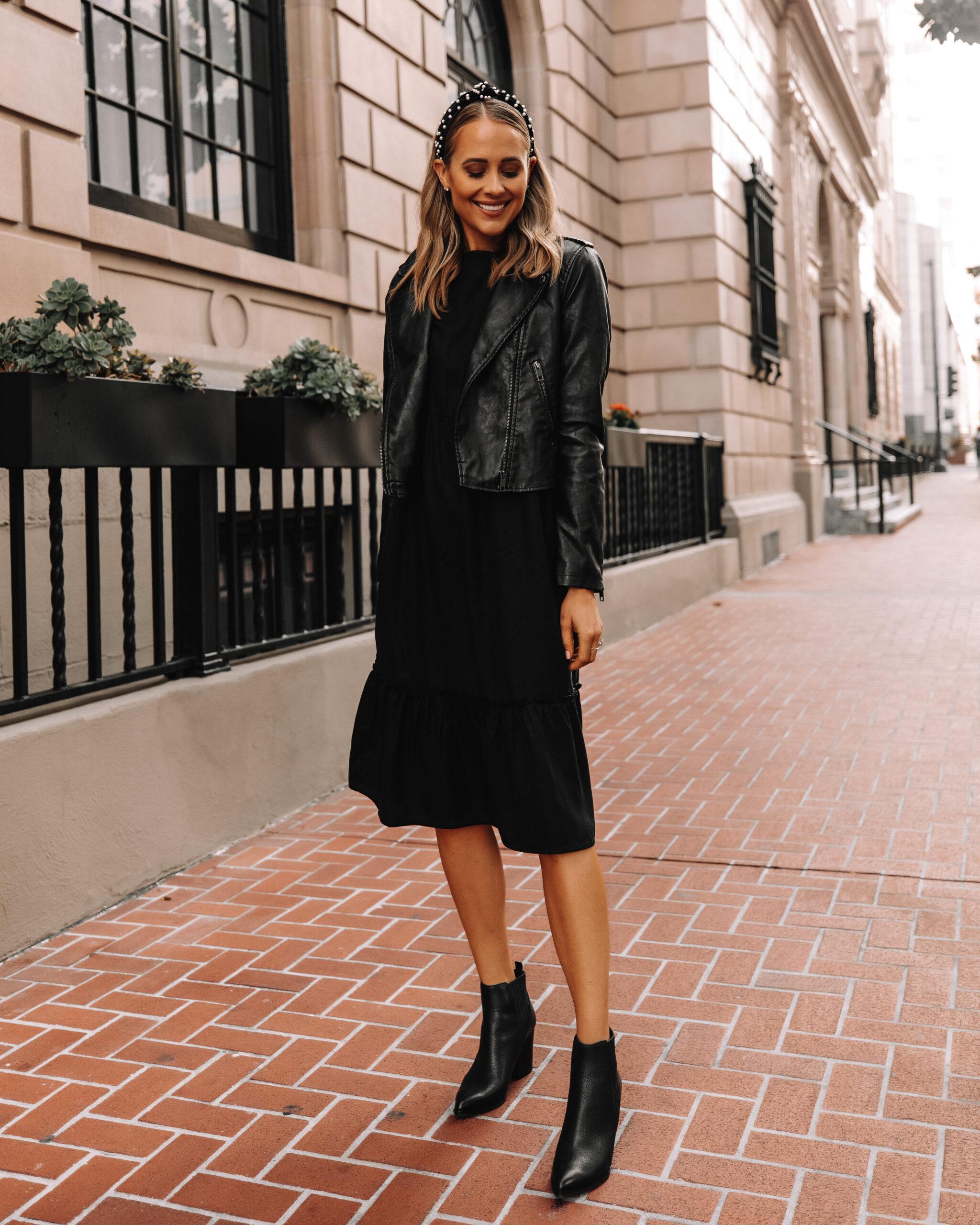 Fashion Jackson Wearing Amazon The Drop Black Midi Dress Black Leather Jacket Black Booties