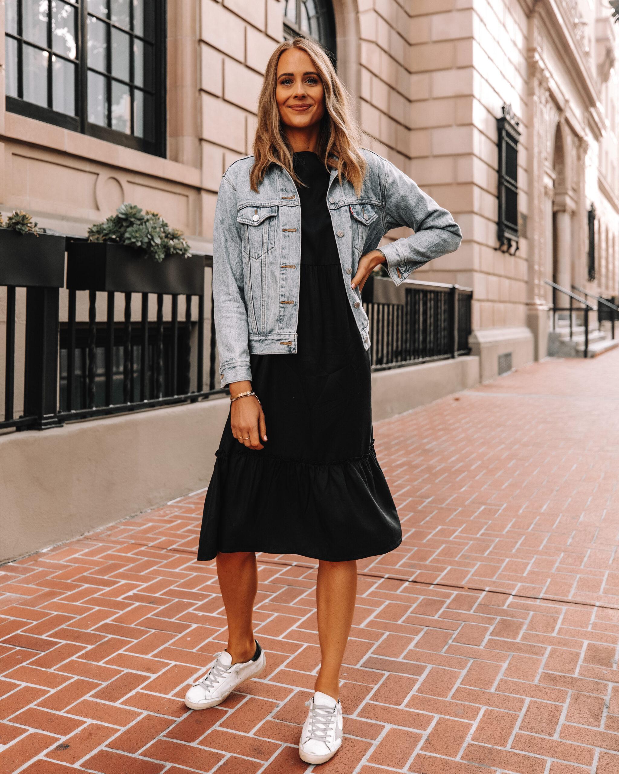 Fashion Jackson Wearing Amazon The Drop Black Midi Dress Denim Jacket Golden Goose Sneakers