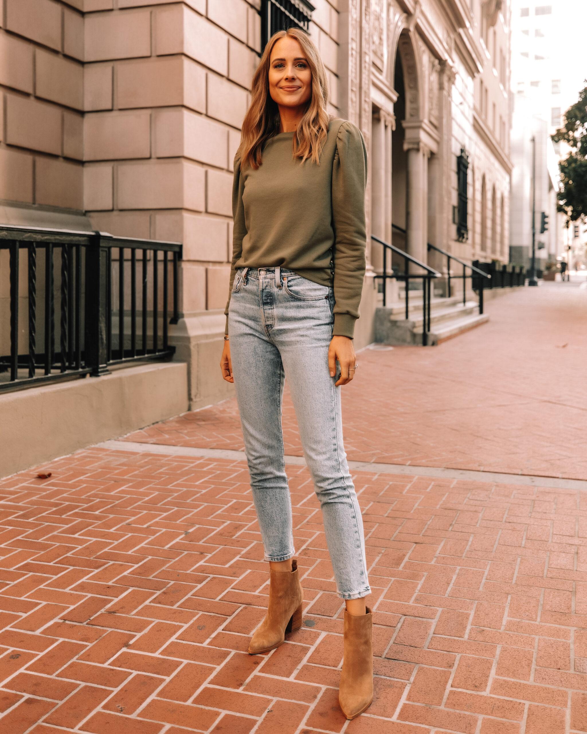 Fashion Jackson Wearing Amazon The Drop Green Puff Sleeve Sweatshirt Denim Skinny Jeans Tan Suede Booties
