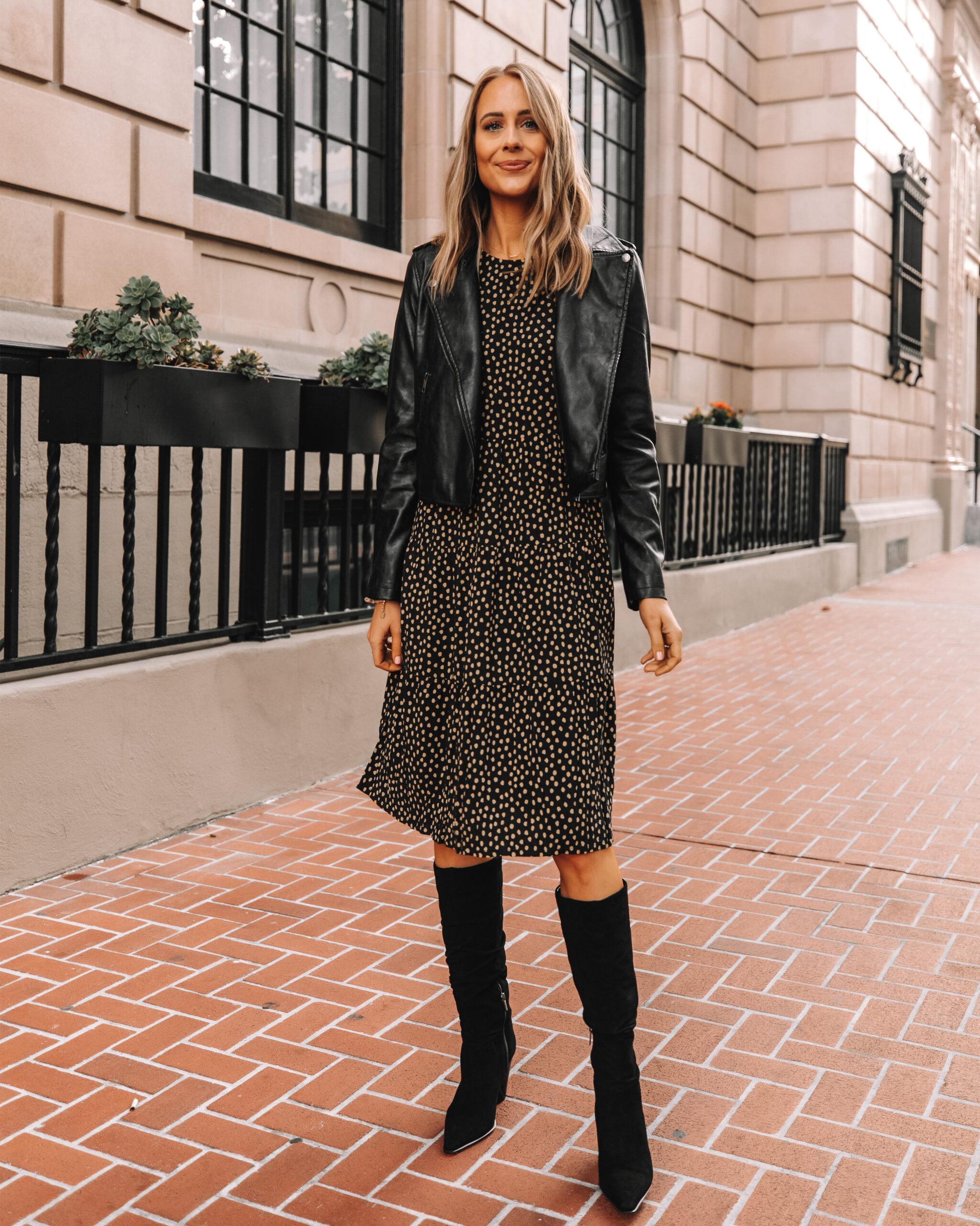 Fashion Jackson Wearing Amazon The Drop Polka Dot Midi Dress Black Leather Jacket Black Knee High Boots