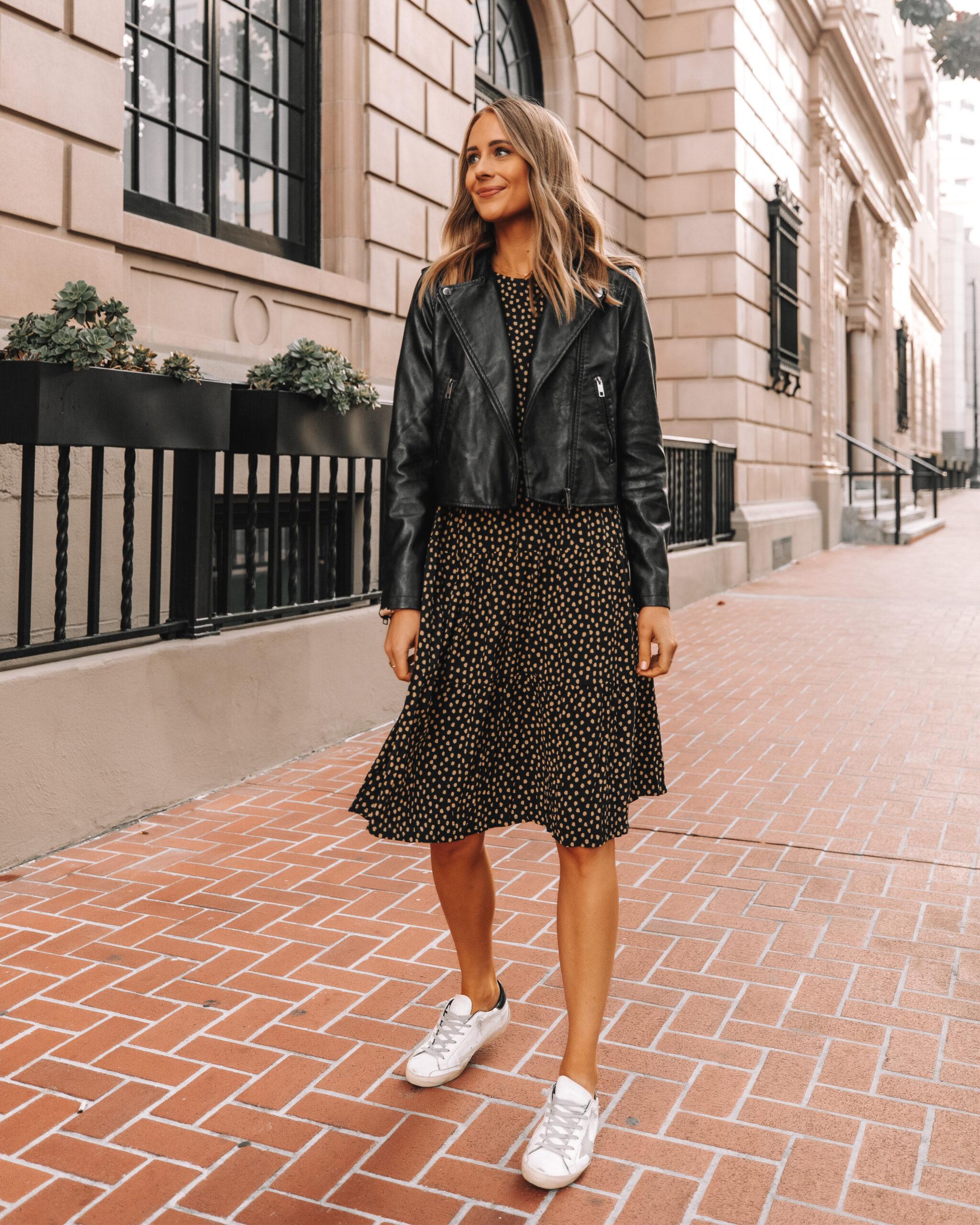 Fashion Jackson Wearing Amazon The Drop Polka Dot Midi Dress Black Leather Jacket Golden Goose Sneakers