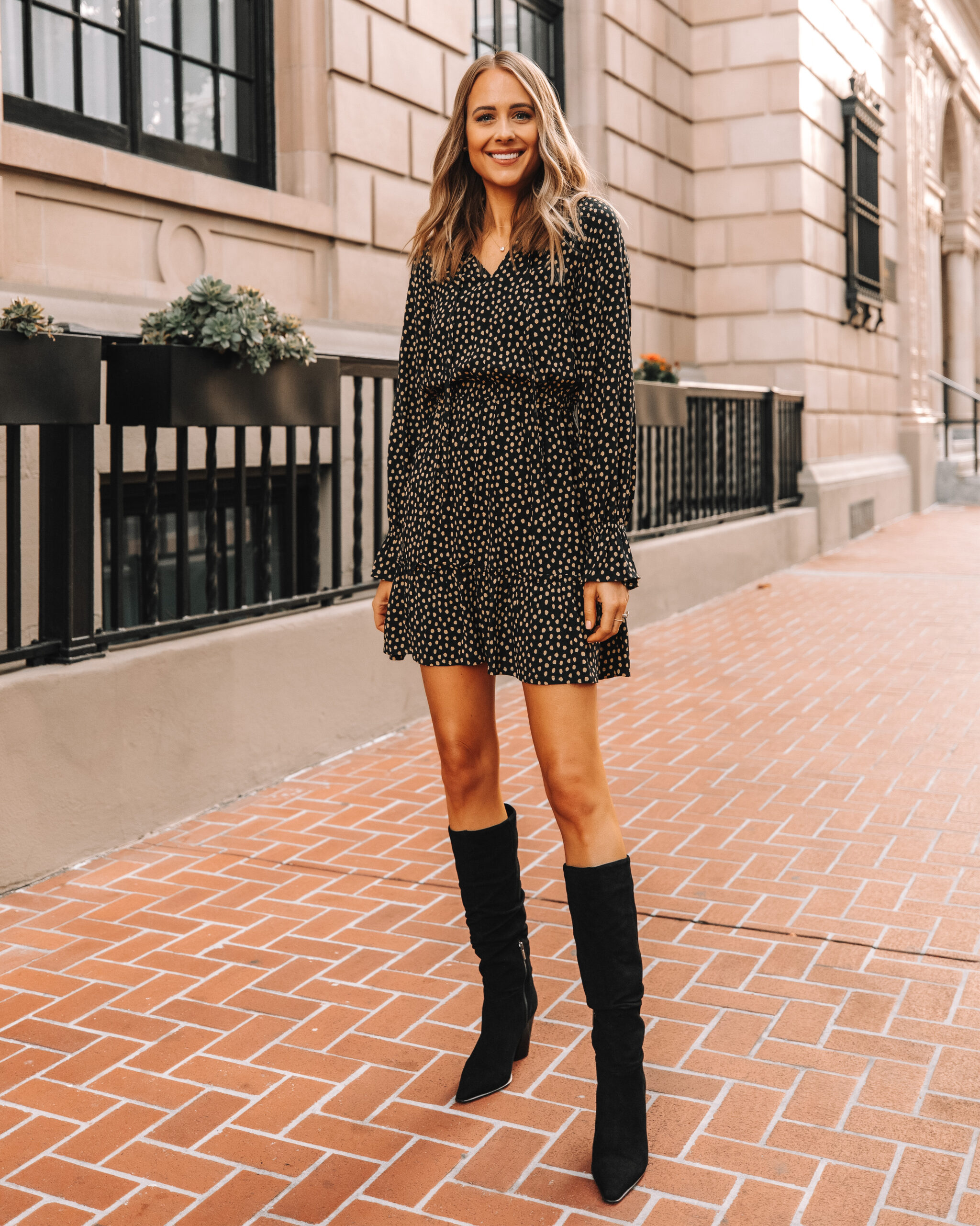 Fashion Jackson Wearing Amazon The Drop Polka Dot Mini Dress Black Knee High Boots
