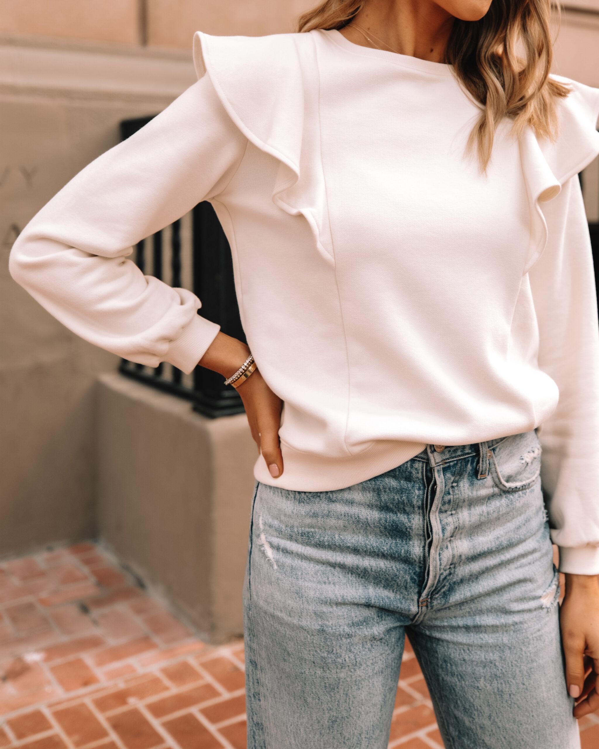 Fashion Jackson Wearing Amazon The Drop White Flutter Sleeve Sweatshirt 1