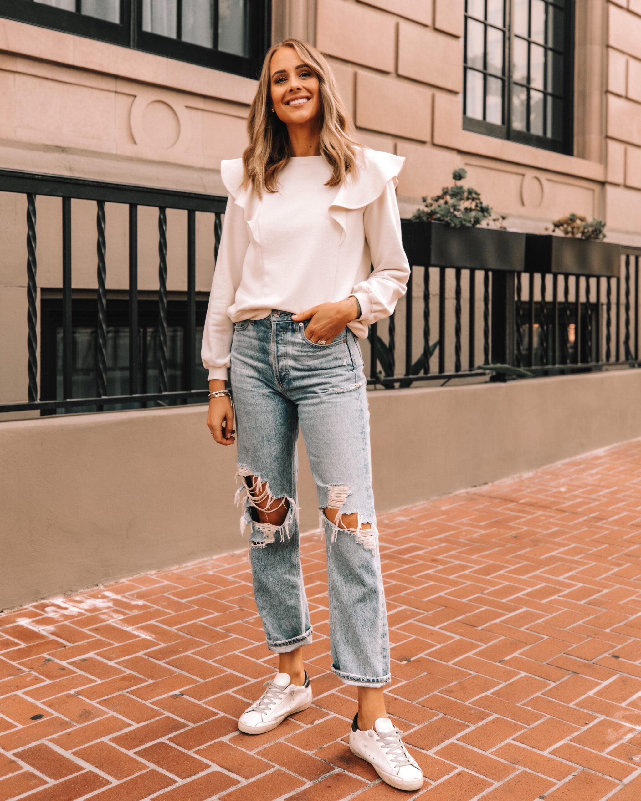 Fashion Jackson Wearing Amazon The Drop White Flutter Sleeve Sweatshirt Ripped Jeans Golden Goose Sneakers