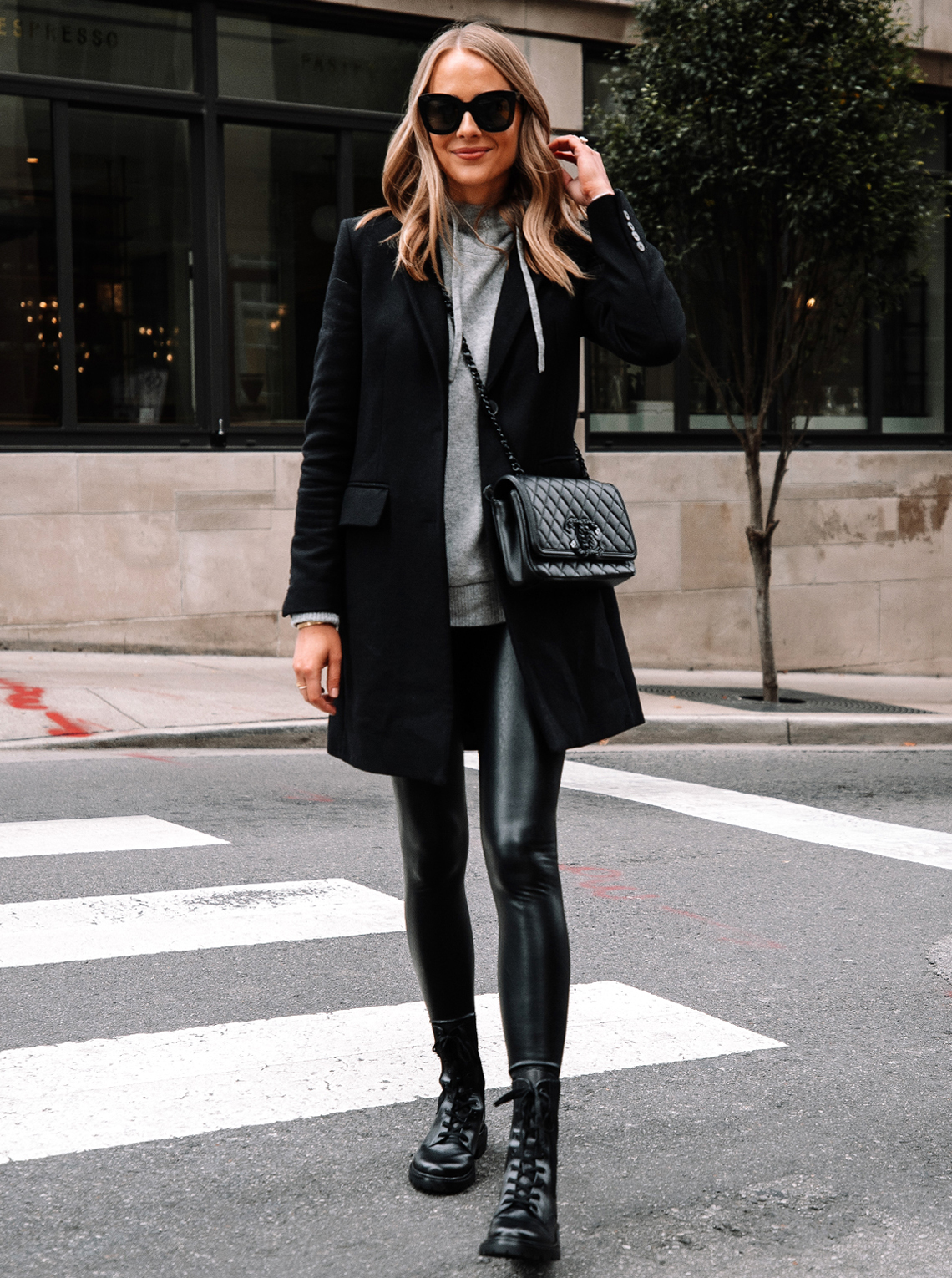 Fashion-Jackson-Wearing-Black-Wool-Coat-Grey-Sweater-Commando-Black-Faux-Leather-Leggings-Sam-Edelman-Black-Combat-Boots-Street-Style-Outfit-1
