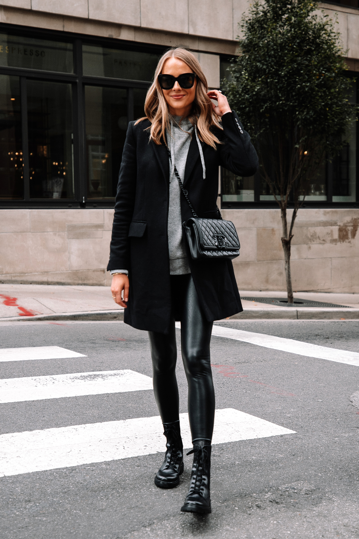 Fashion Jackson Wearing Black Wool Coat Grey Sweater Commando Black Faux Leather Leggings Sam Edelman Black Combat Boots Street Style Outfit 1