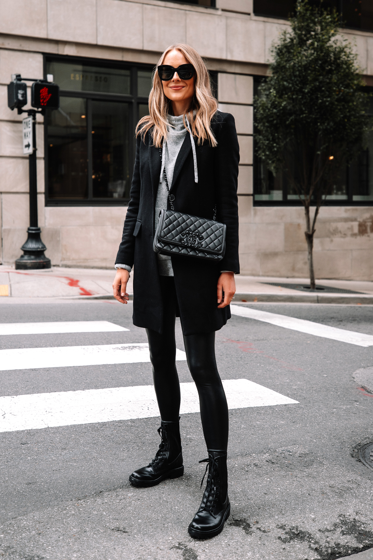 Fashion Jackson Wearing Black Wool Coat Grey Sweater Commando Black Faux Leather Leggings Sam Edelman Black Combat Boots Street Style Outfit
