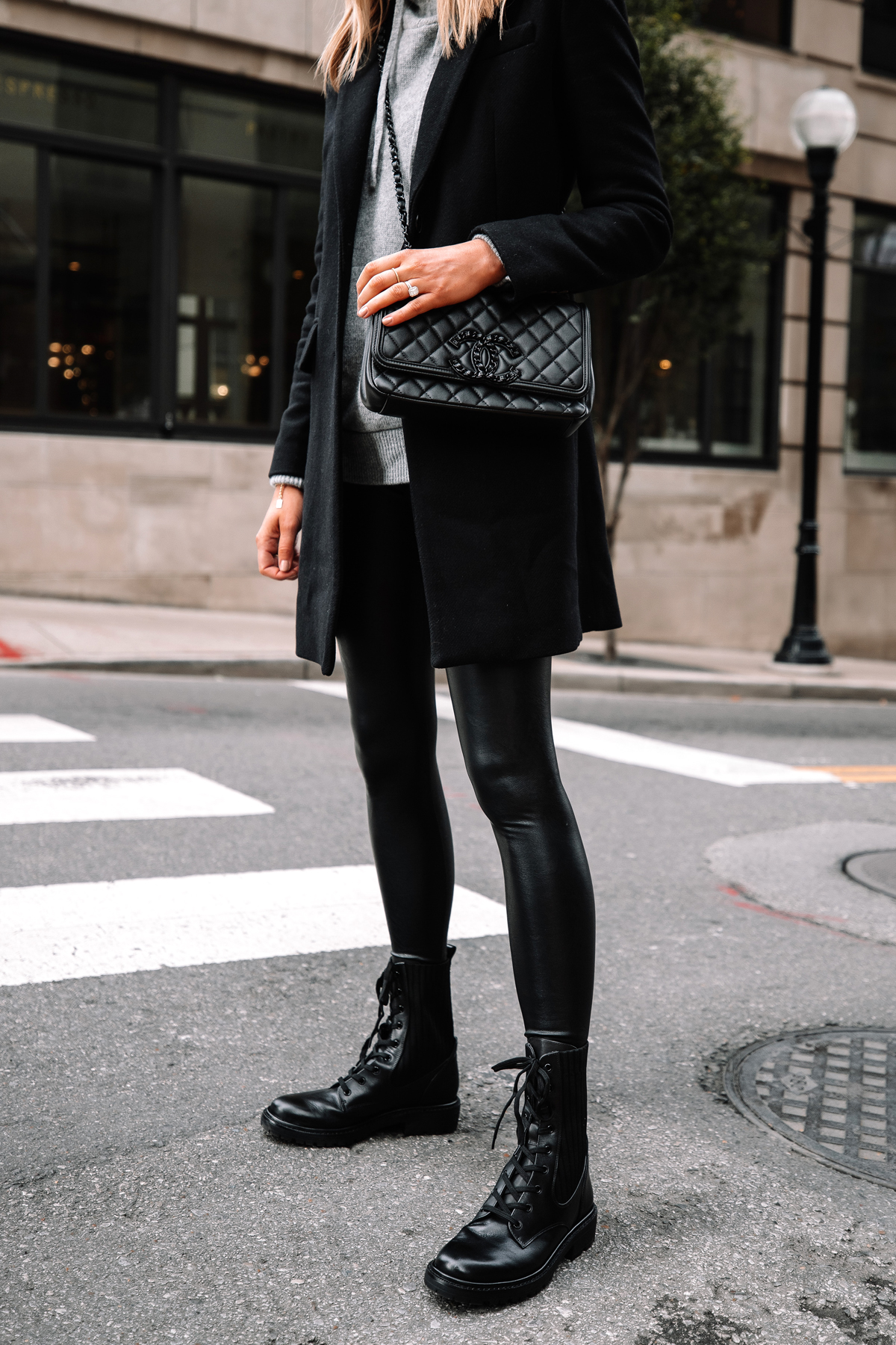 Fashion Jackson Wearing Black Wool Coat Grey Sweater Commando Black Faux Leather Leggings Sam Edelman Black Combat Boots