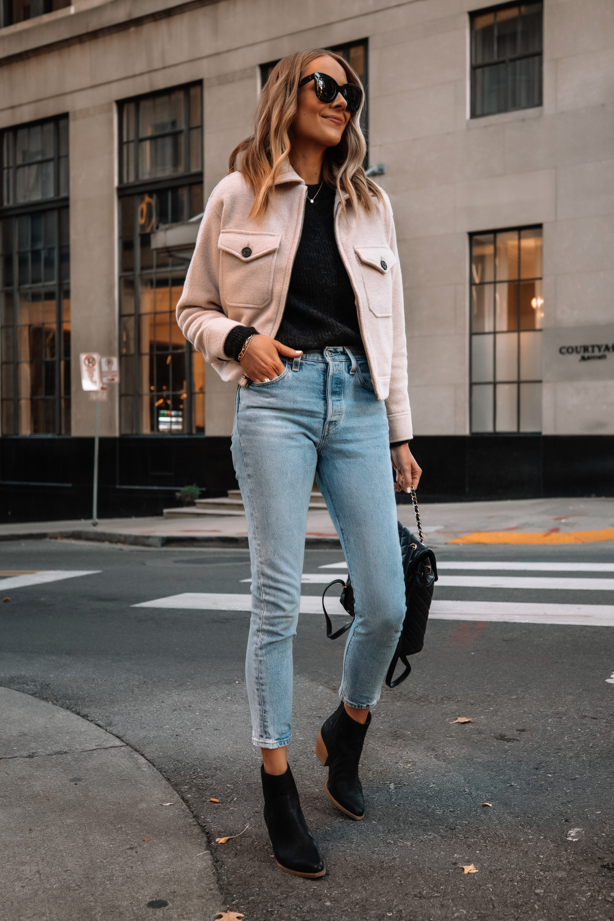 Fashion Jackson Wearing Everlane Mackinaw Jacket Black Sweater Jeans Black Booties Street Style Outfit