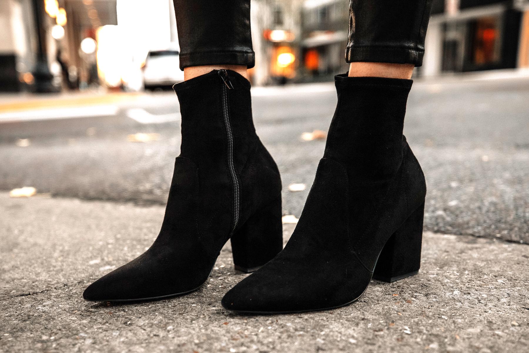 Fashion Jackson Wearing Express Black Suede Booties
