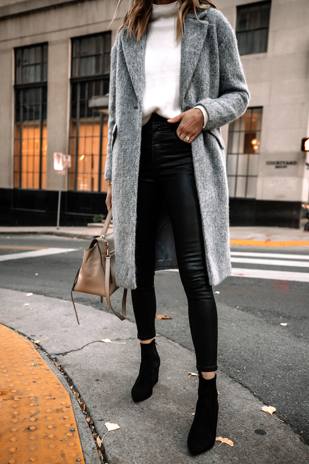Fashion Jackson Wearing Express Long Grey Coat White Sweater Black Coated Skinny Jeans Black Suede Booties 1