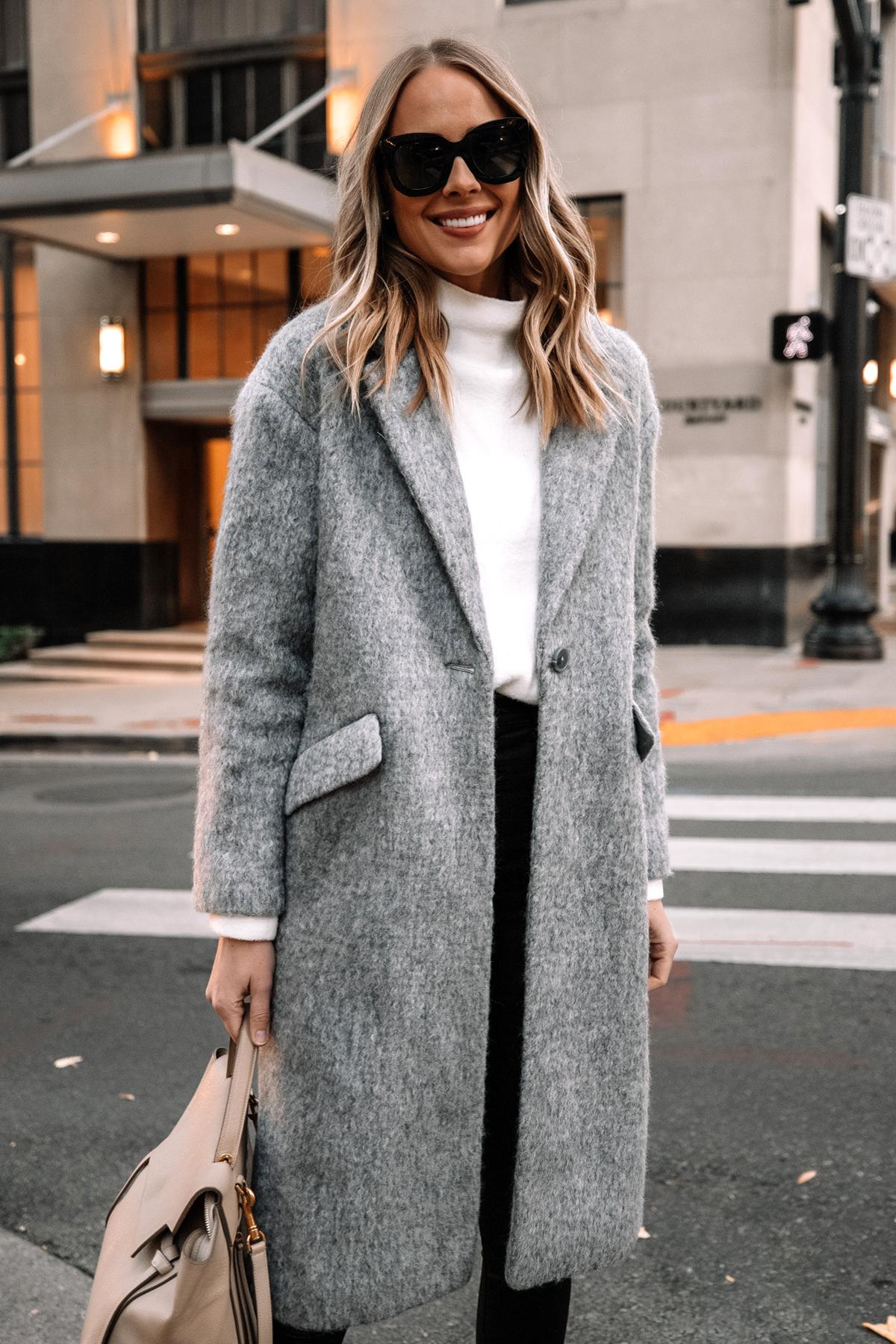 Fashion Jackson Wearing Express Long Grey Coat White Sweater Winter Outfit