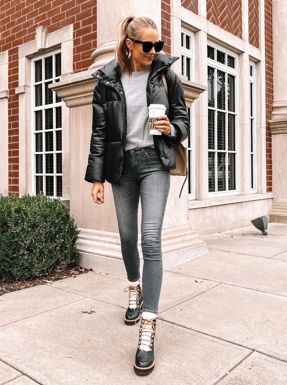 Fashion Jackson Wearing Faux Leather Puffer Jacket Grey Sweater Grey Skinny Jeans Black Winter Boots