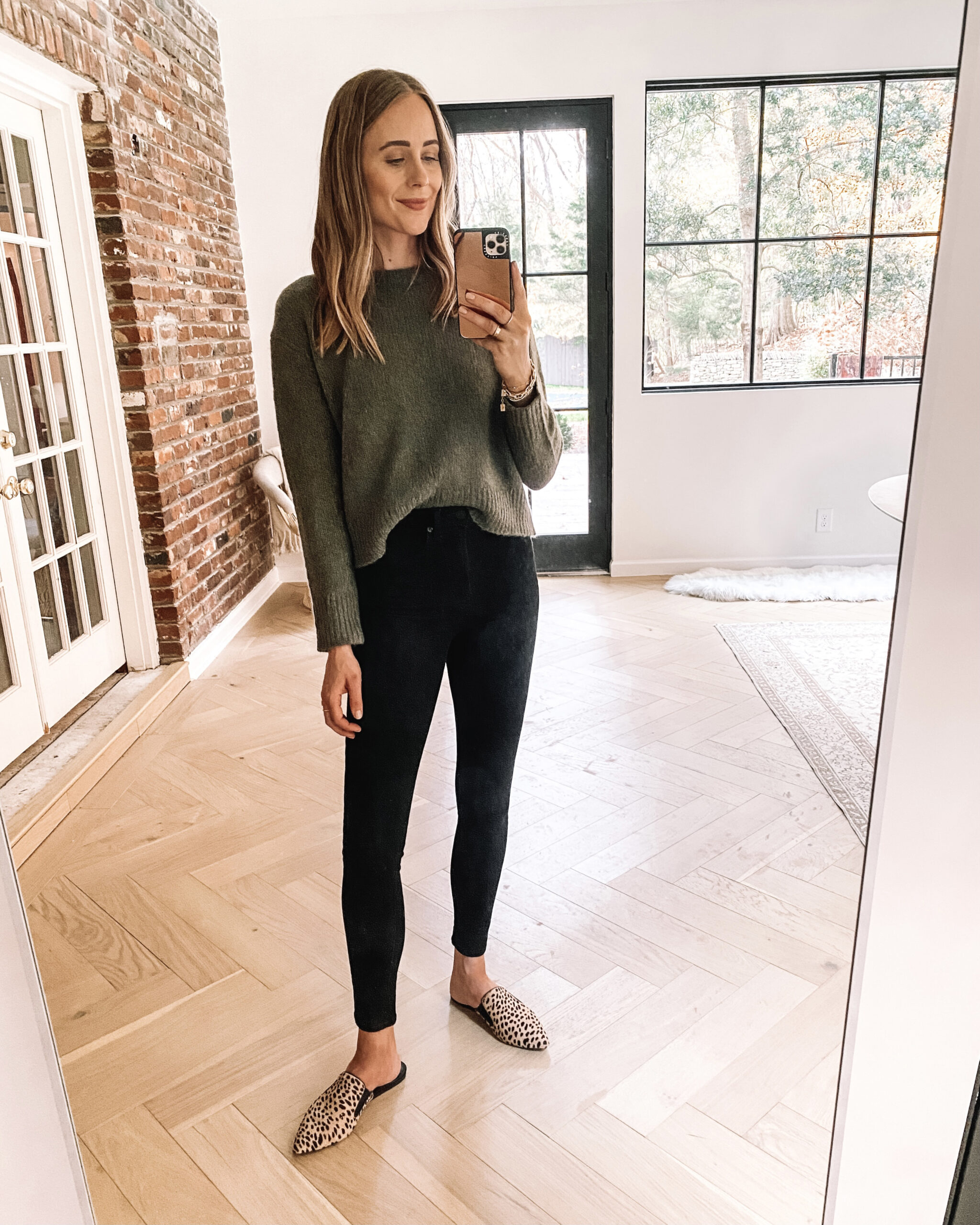 Fashion Jackson Wearing Green Jenni Kayne Atlas Sweater Black Skinny Jeans Leopard Mules