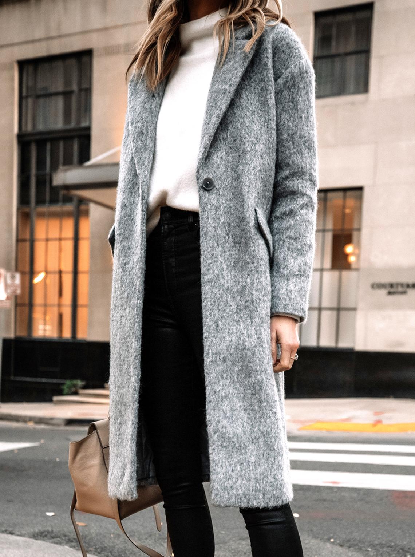 Fashion Jackson Wearing Grey Wool Coat Coat Black Skinny Jeans