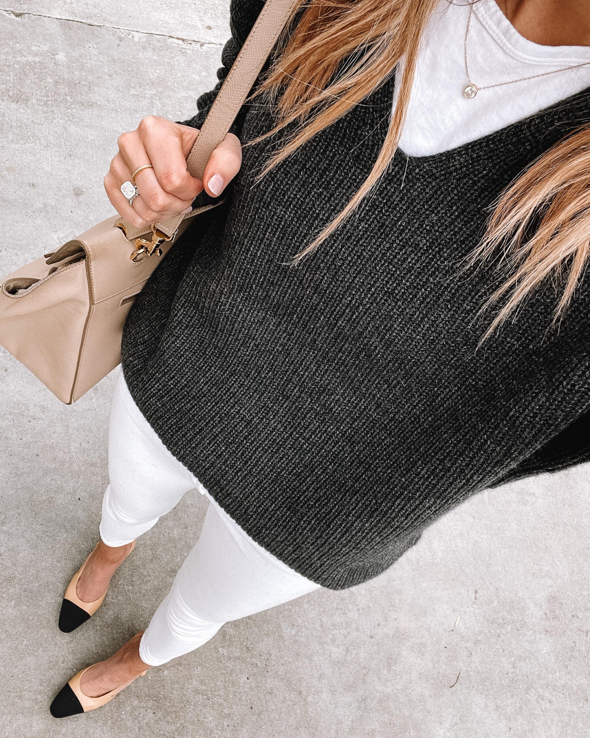 Fashion Jackson Wearing Jenni Kayne Cabin Sweater Grey White Skinny Jeans