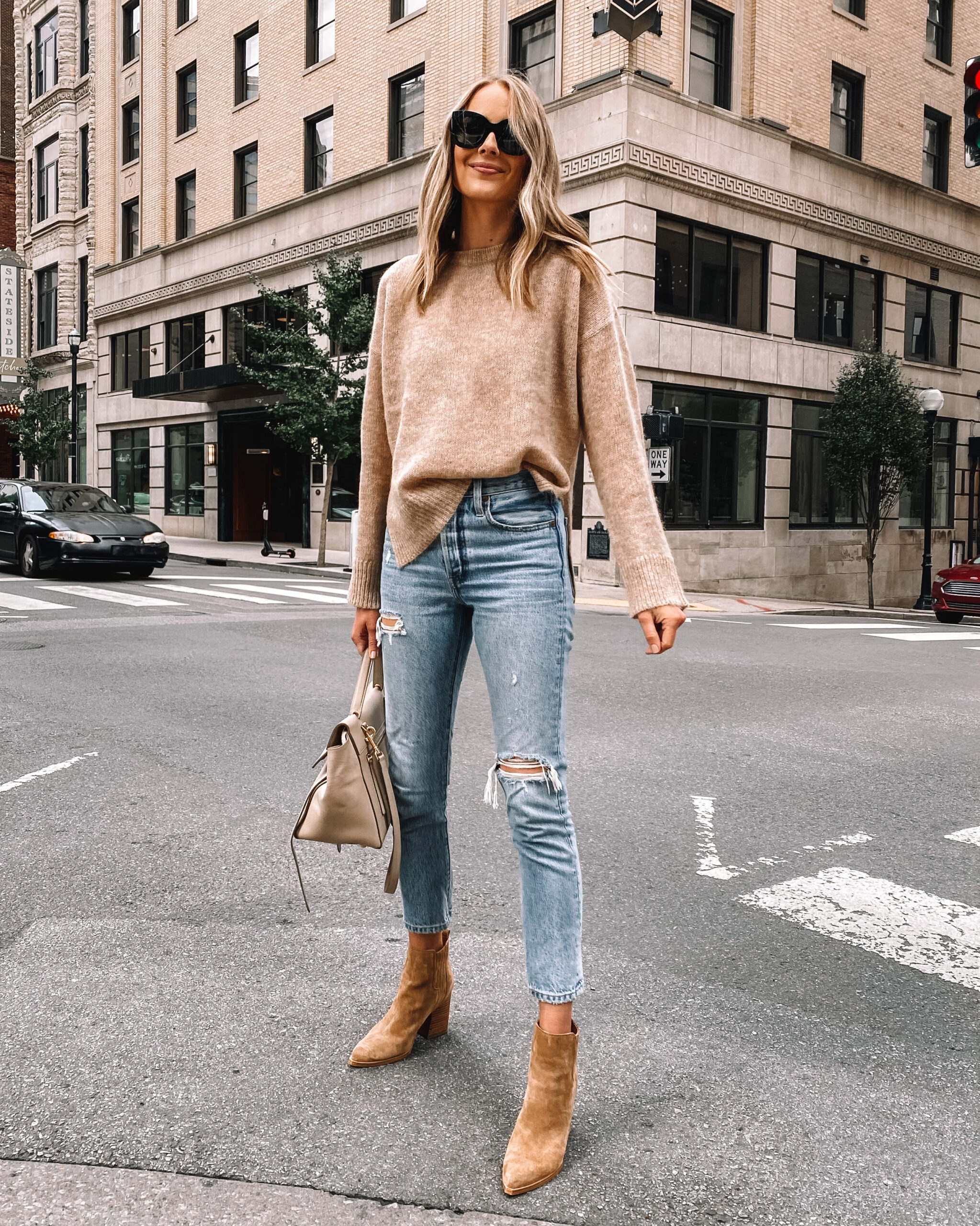 Fashion Jackson Wearing Jenni Kayne Eco Boyfriend Sweater Ripped Levis Jeans Tan Suede Booties