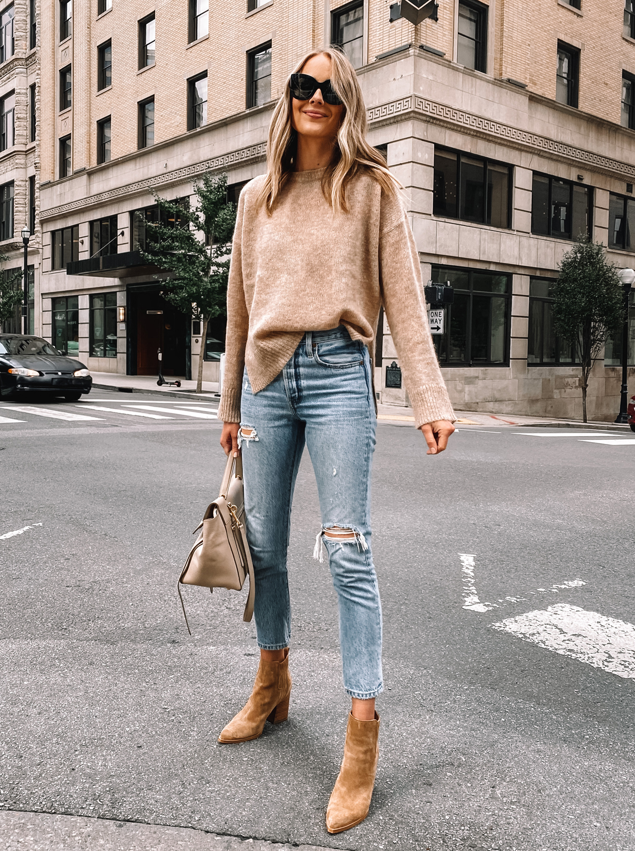 Fashion Jackson Wearing Jenni Kayne Fall Camel Sweater