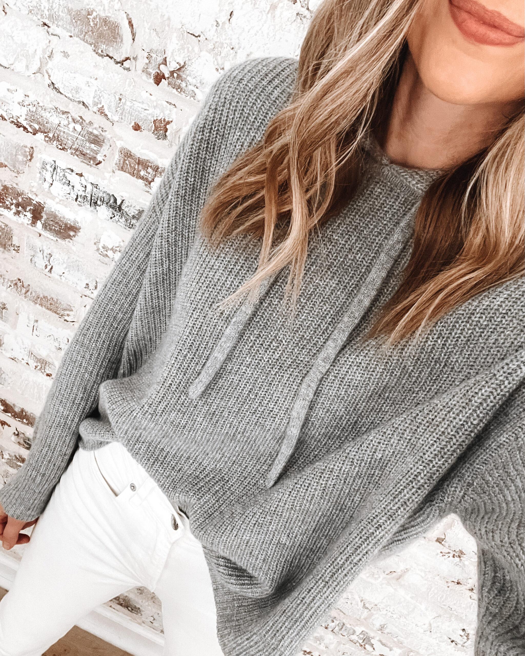 Fashion Jackson Wearing Jenni Kayne Fisherman Hoodie Sweater Grey_1