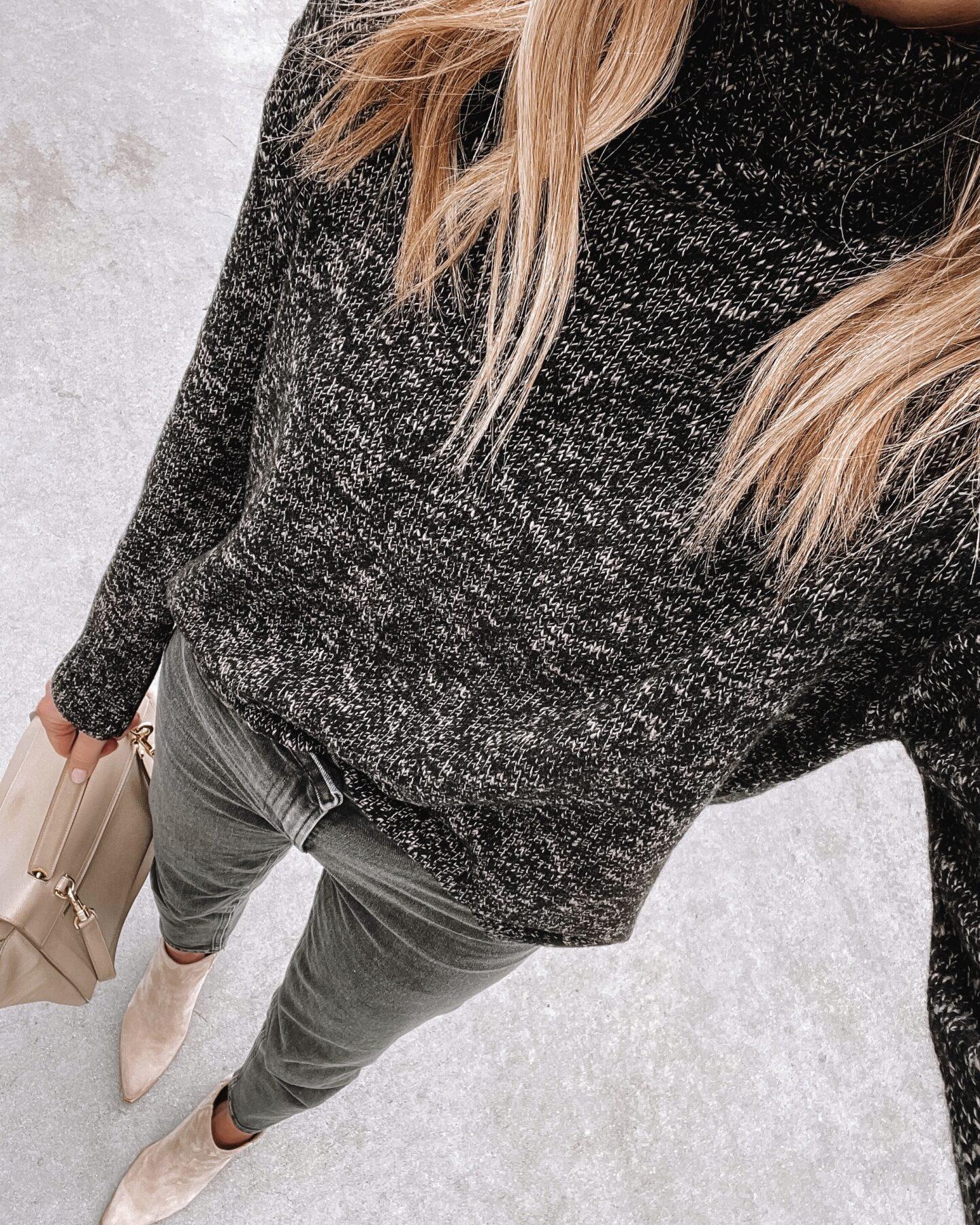 Fashion Jackson Wearing Jenni Kayne Recycled Cashmere Marled Turtleneck Black Jeans Tan Suede Booties