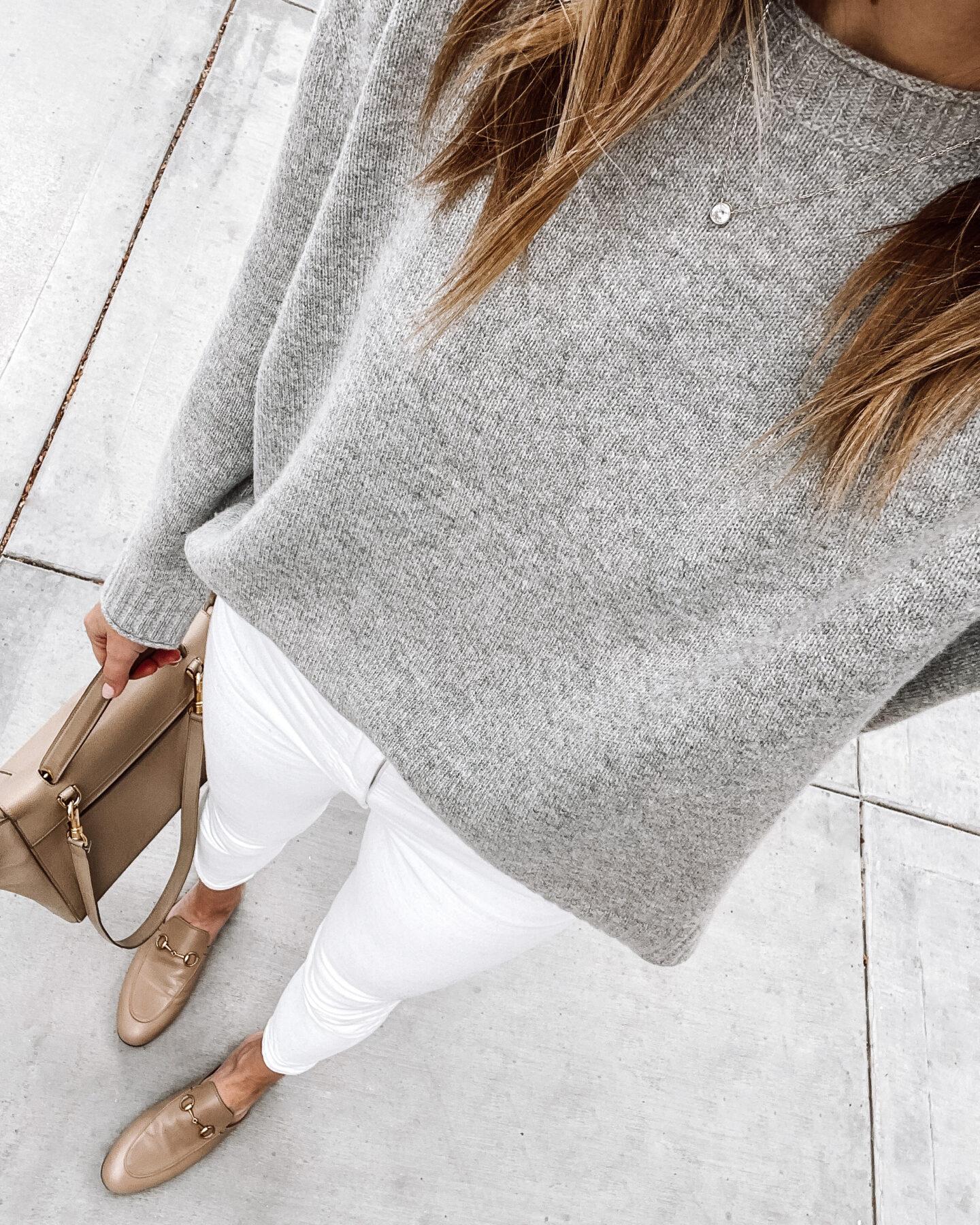 Fashion Jackson Wearing Jenni Kayne Everyday Sweater Grey White Skinny Jeans Gucci Mules Tan